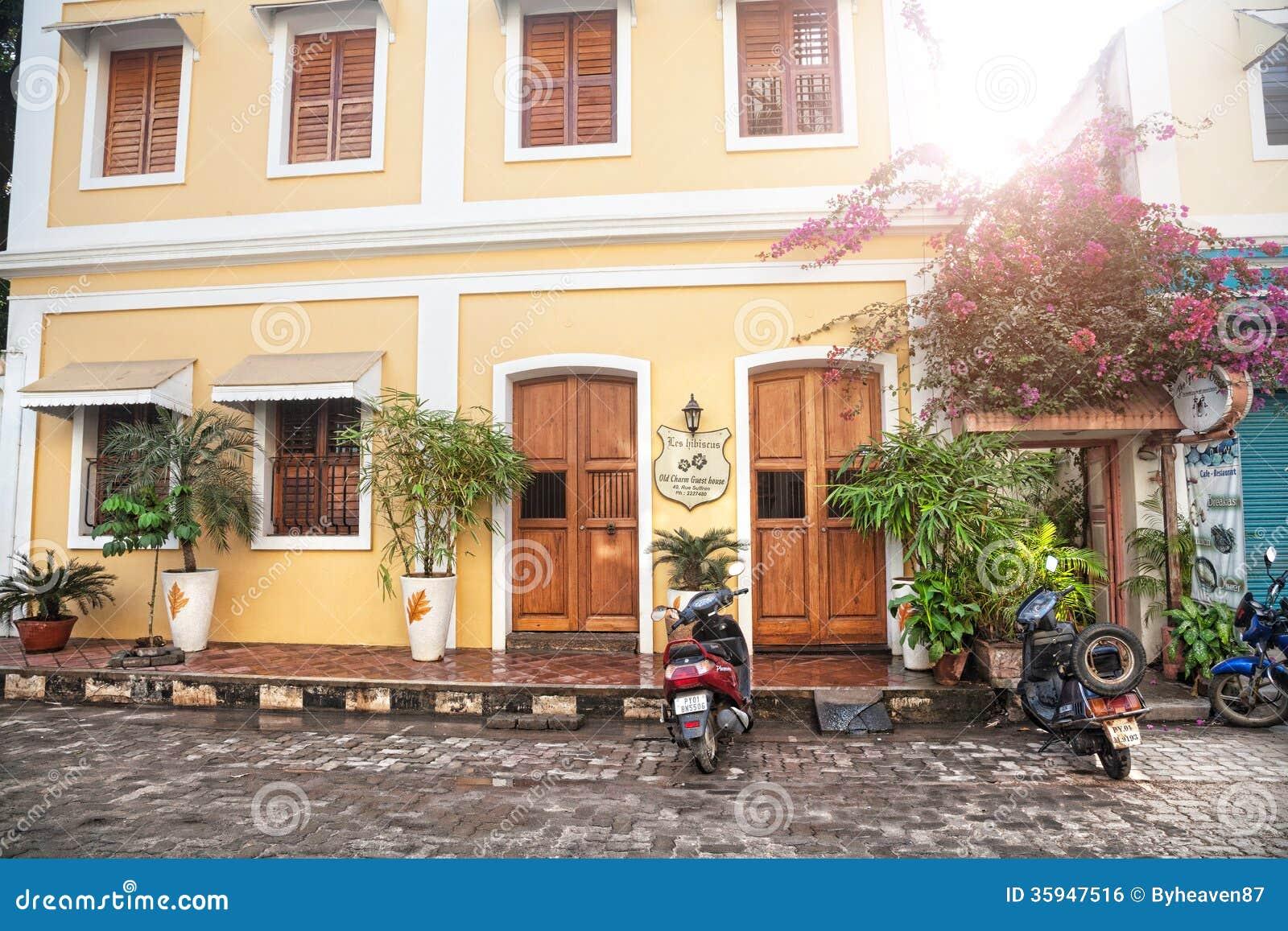 French Architecture Pondicherry India Stock Photos Images