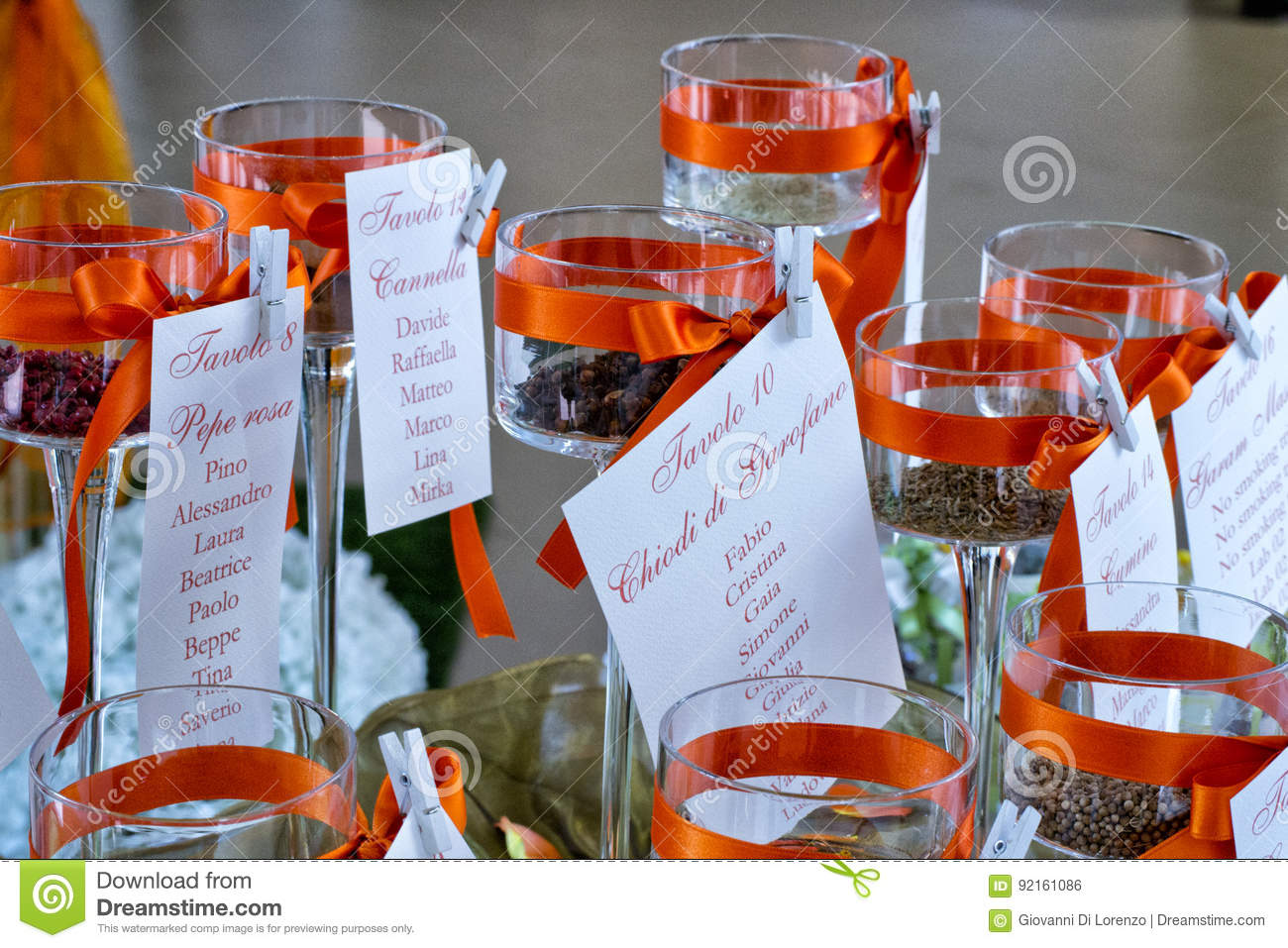 Guests Names Cards At Wedding Diner Tables Stock Photo