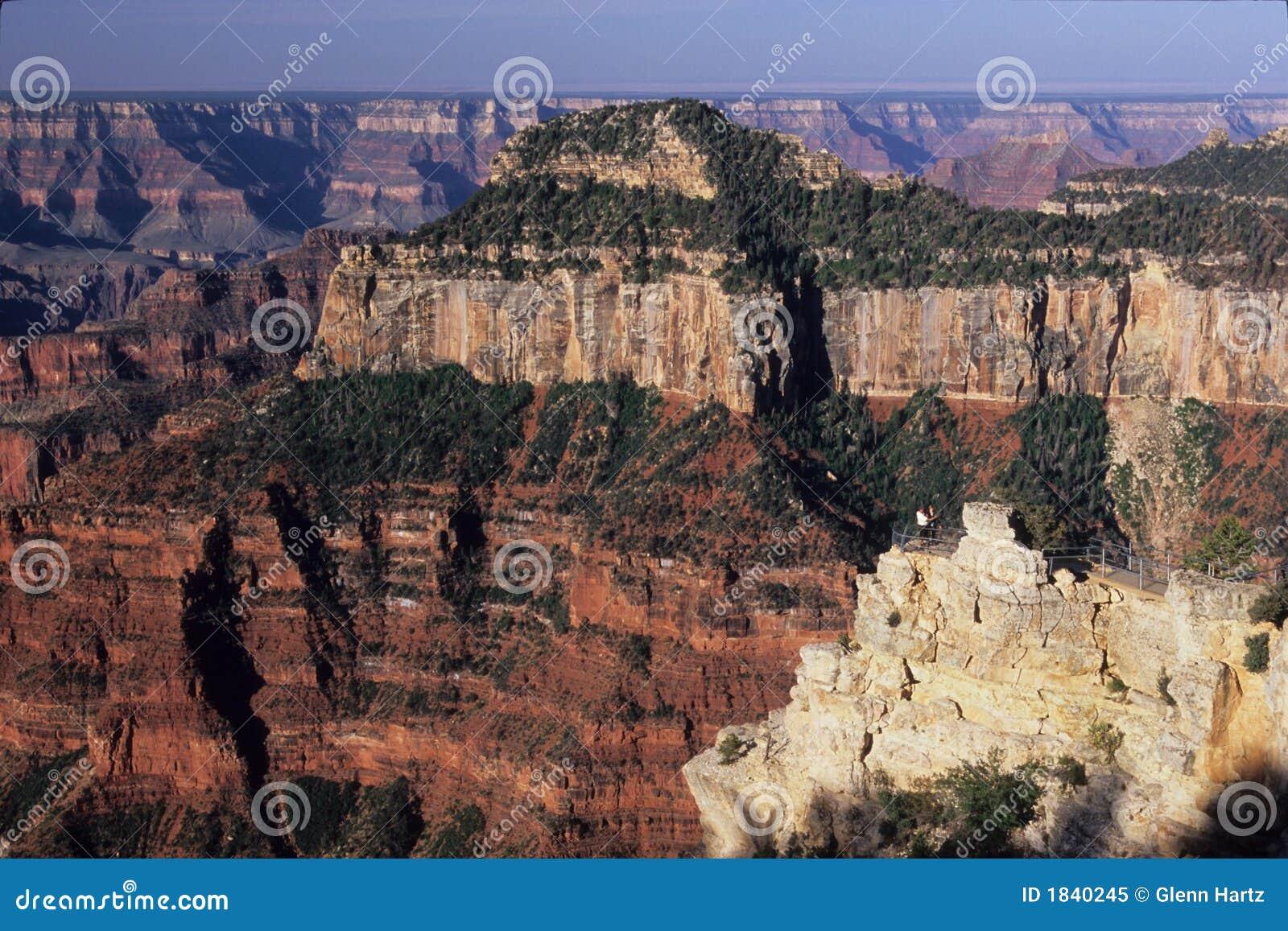 Guests at viewpoint below lodge, north rim of Grand Canyon National Park, Arizona