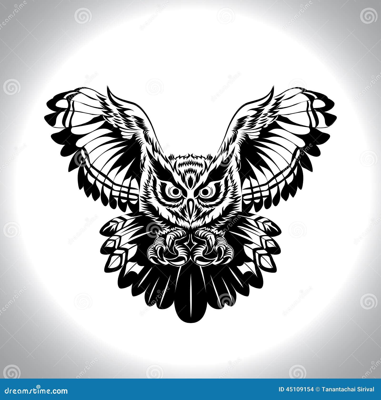Gufo in bianco e nero del disegno illustrazione vettoriale - Tappeto bianco e nero ...