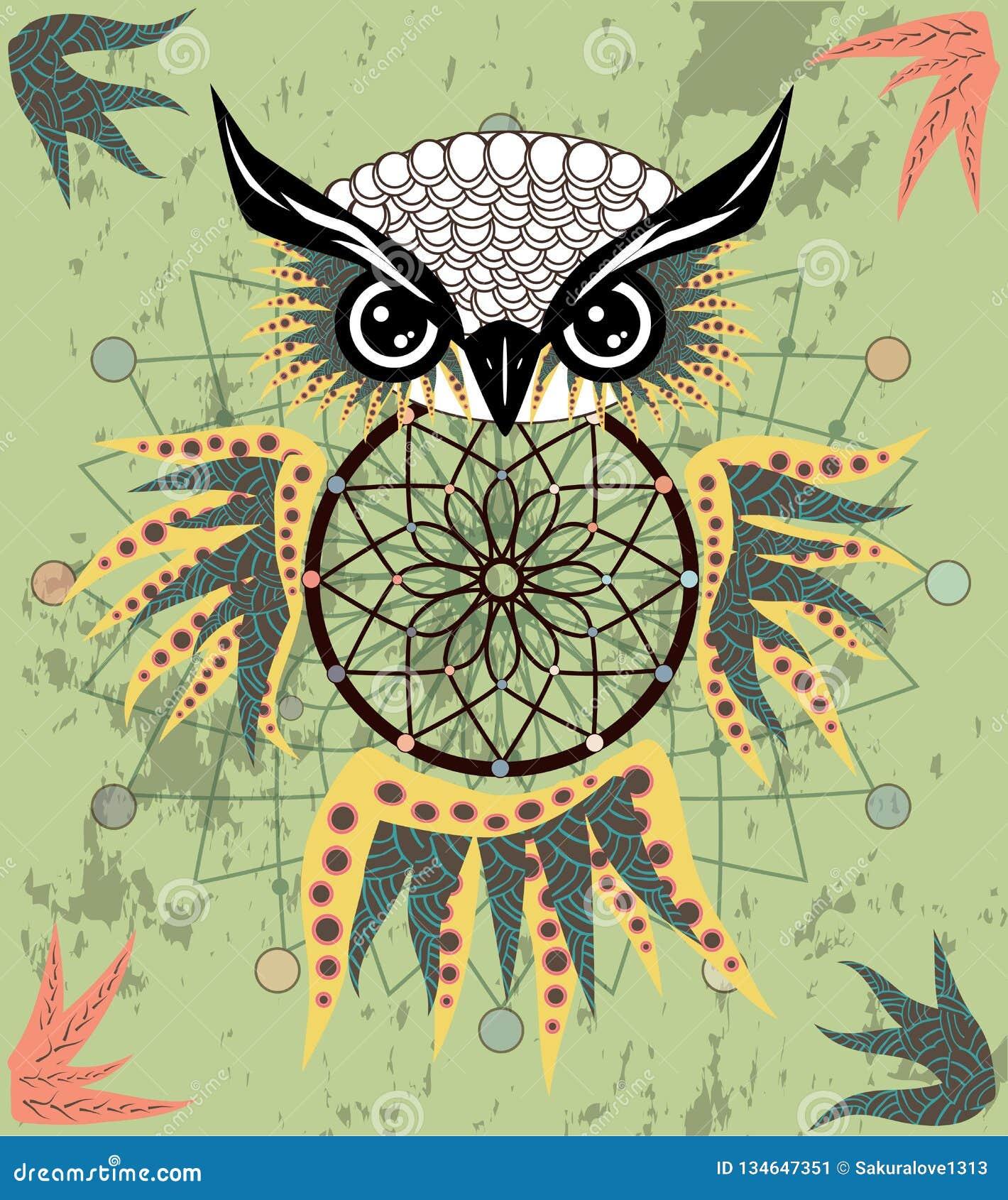 Gufo di sogno decorativo indiano del collettore nello stile grafico Illustrazione