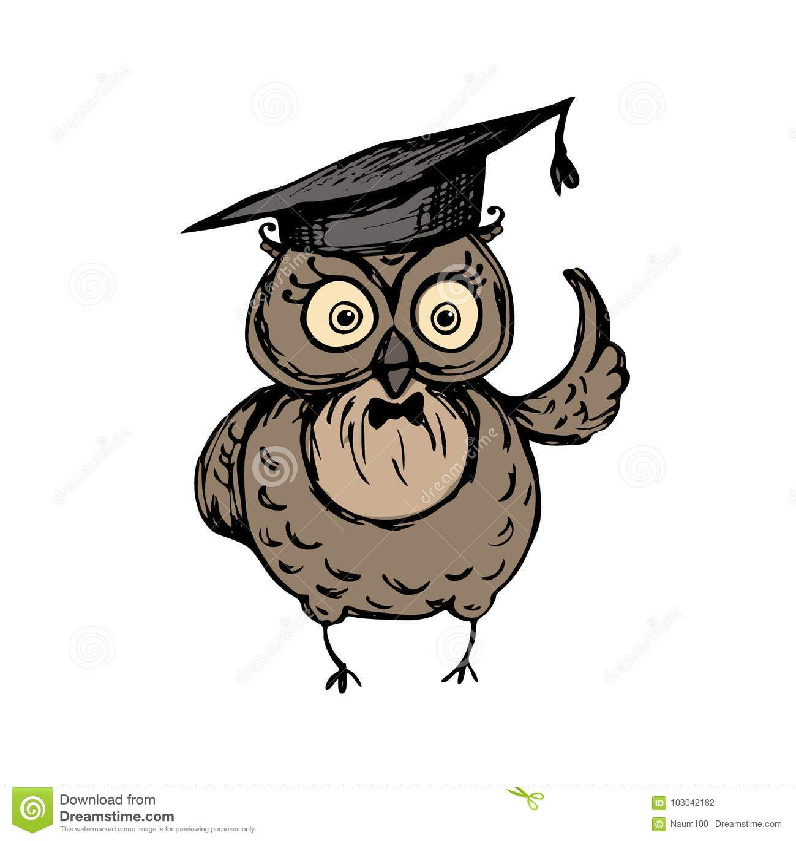 Gufo Sveglio Con Il Cappello Di Graduazione Illustrazione Vettoriale