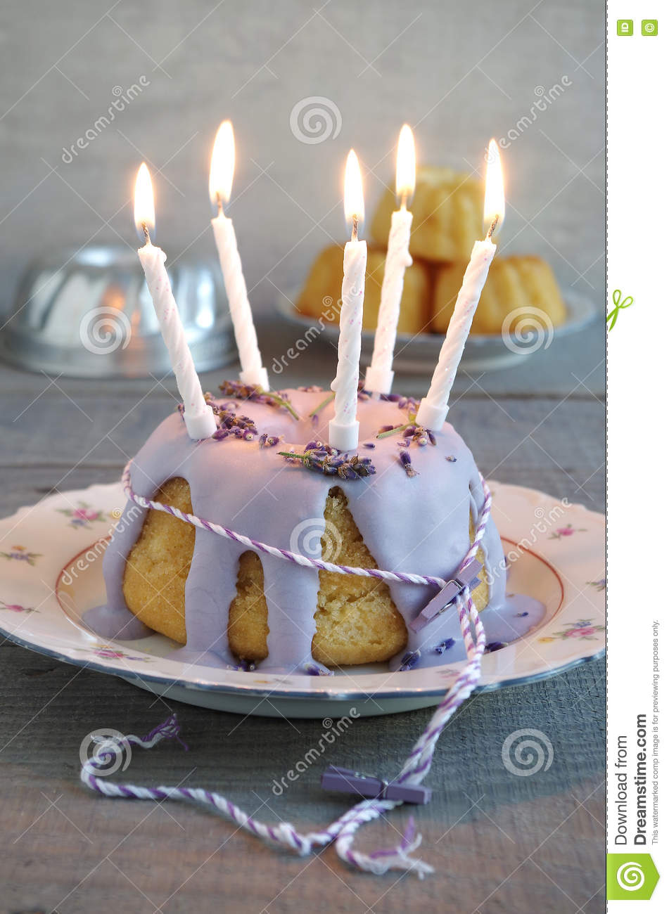Gugelhupf With Icing And Lavender As Birthday Cake Stock Photo
