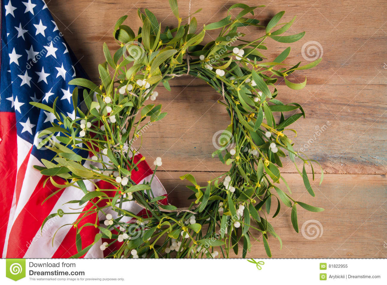 Gui et drapeau am ricain d coration de no l image stock - Site americain decoration noel ...