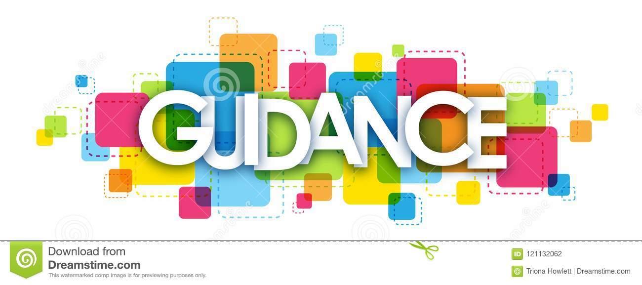 guidance banner on colorful squares background stock illustration
