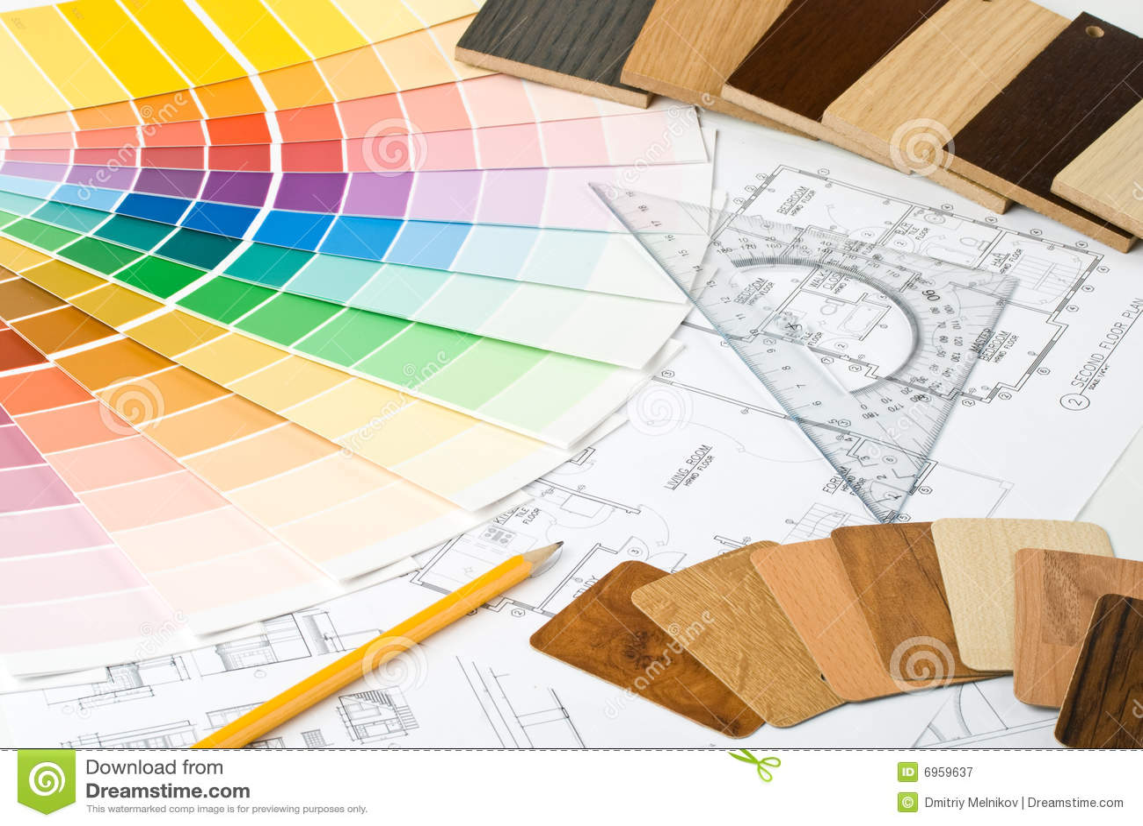 Guide de couleur, échantillons matériels et modèle