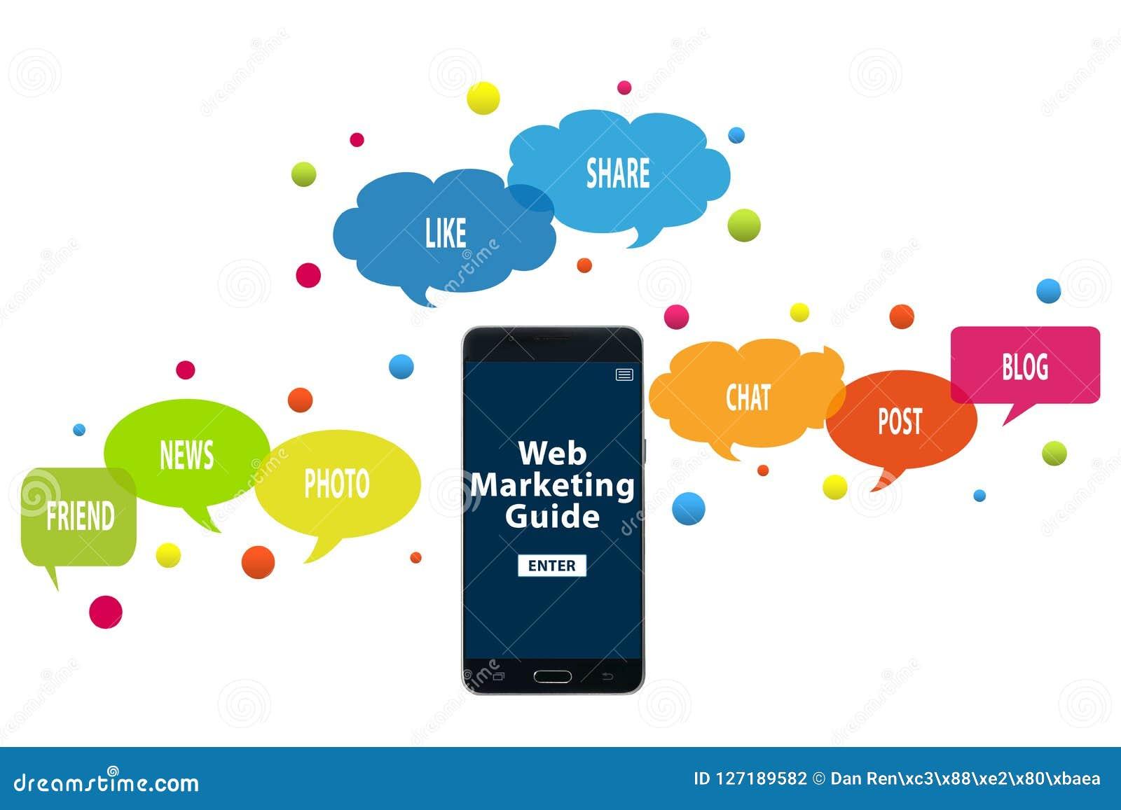 Guide de marketing de Web au téléphone portable Concept en ligne de présence et de vente