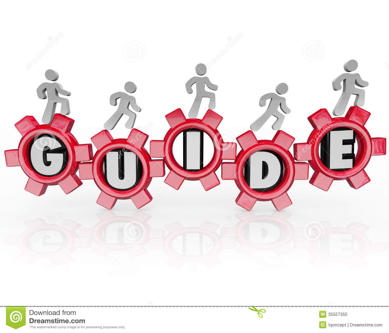 Guide People Walking Gears Instructions Advice Stock Photo - Image ...