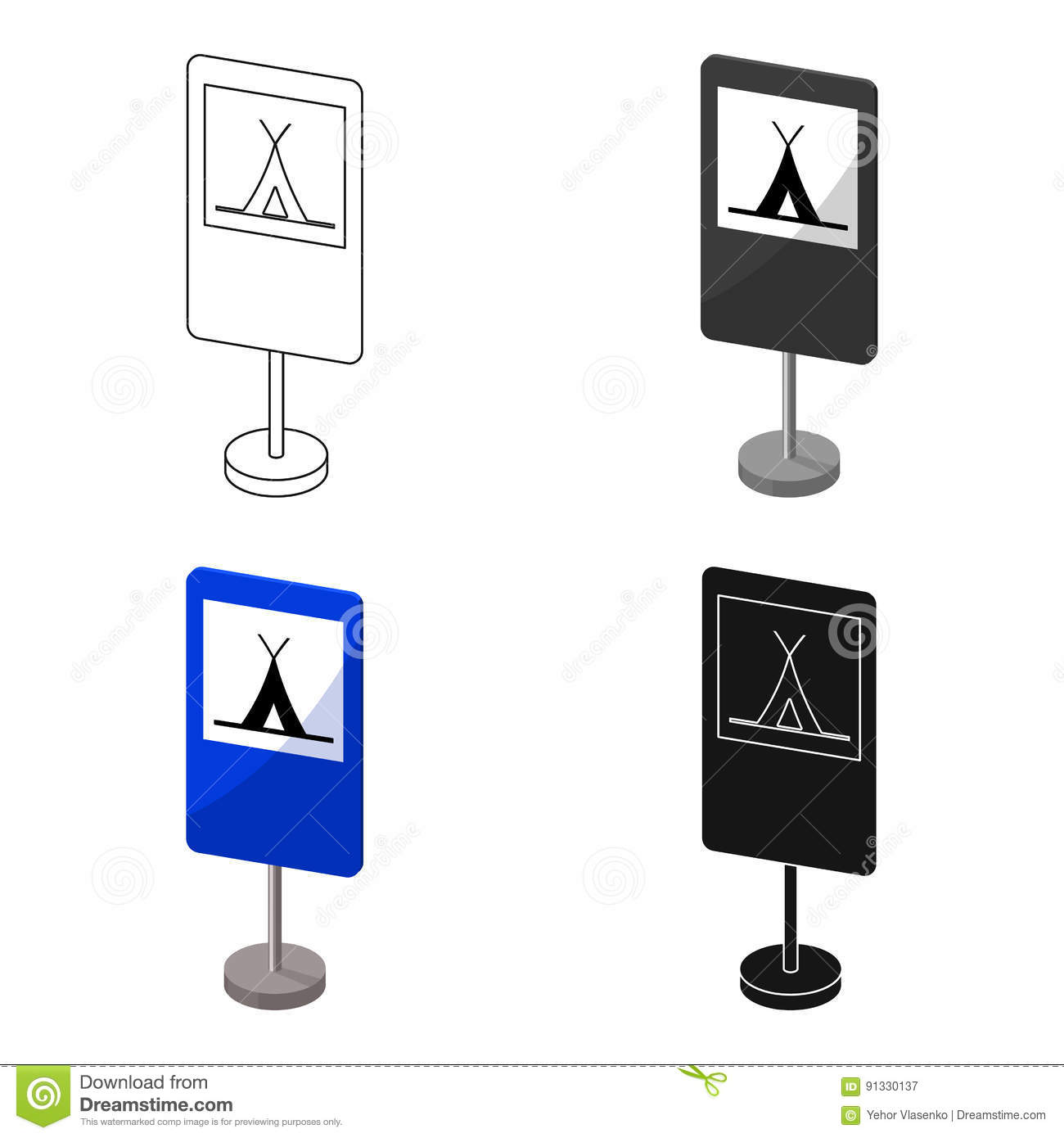 guide road sign icon in cartoon style isolated on white