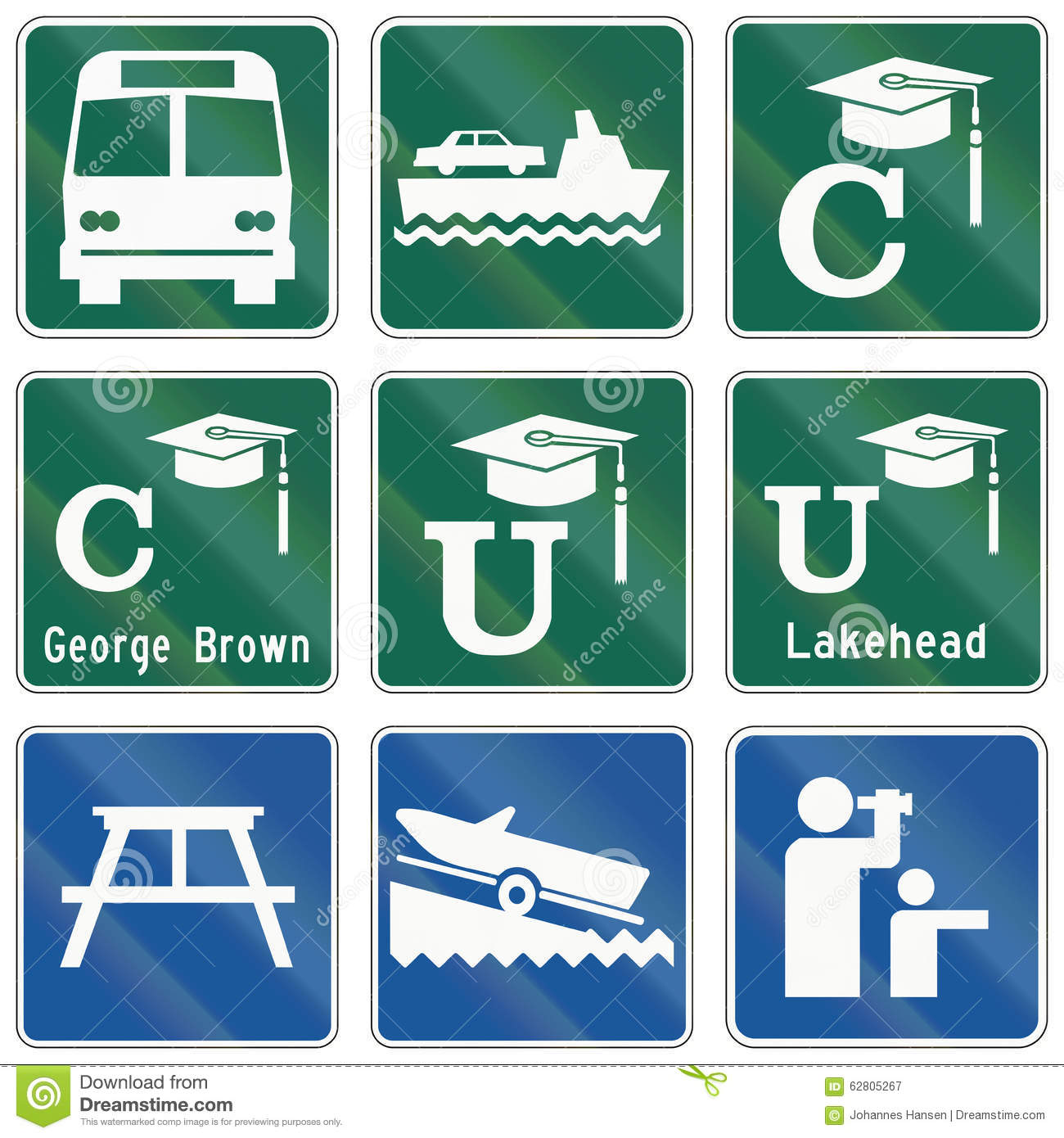 Guide Road Signs In Ontario - Canada Stock Illustration ...