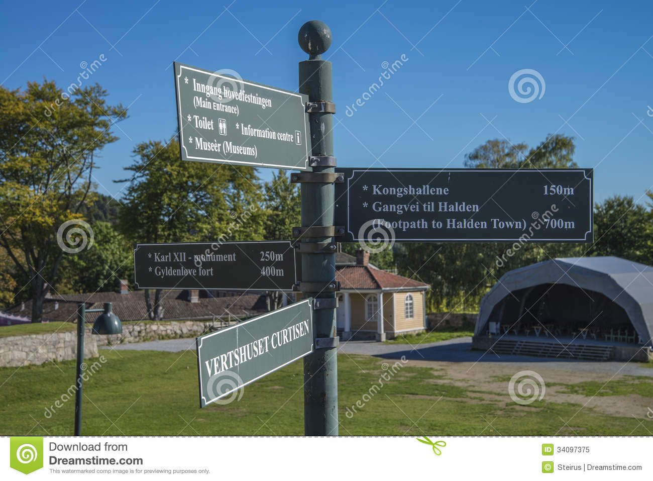 Guide Signs At Fredriksten Fortress Editorial Image Image
