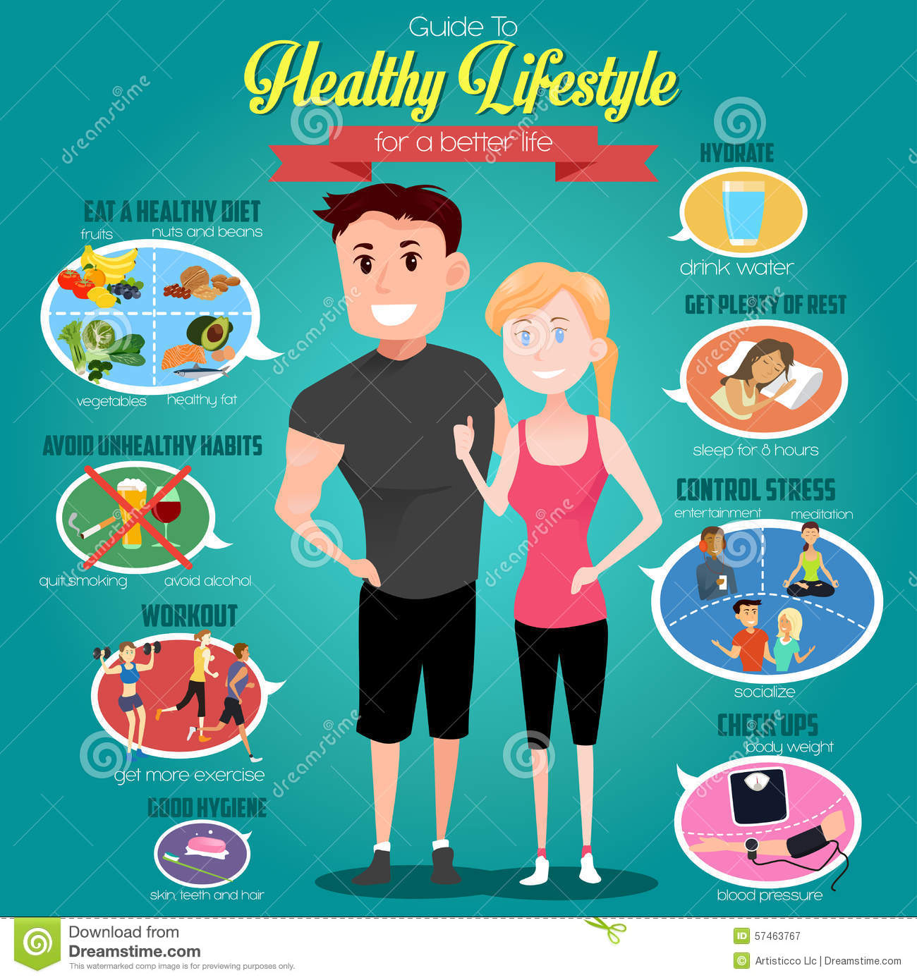 Guide To Healthy Lifestyle Infographics Stock Vector Illustration Of Nuts Lifestyle 57463767