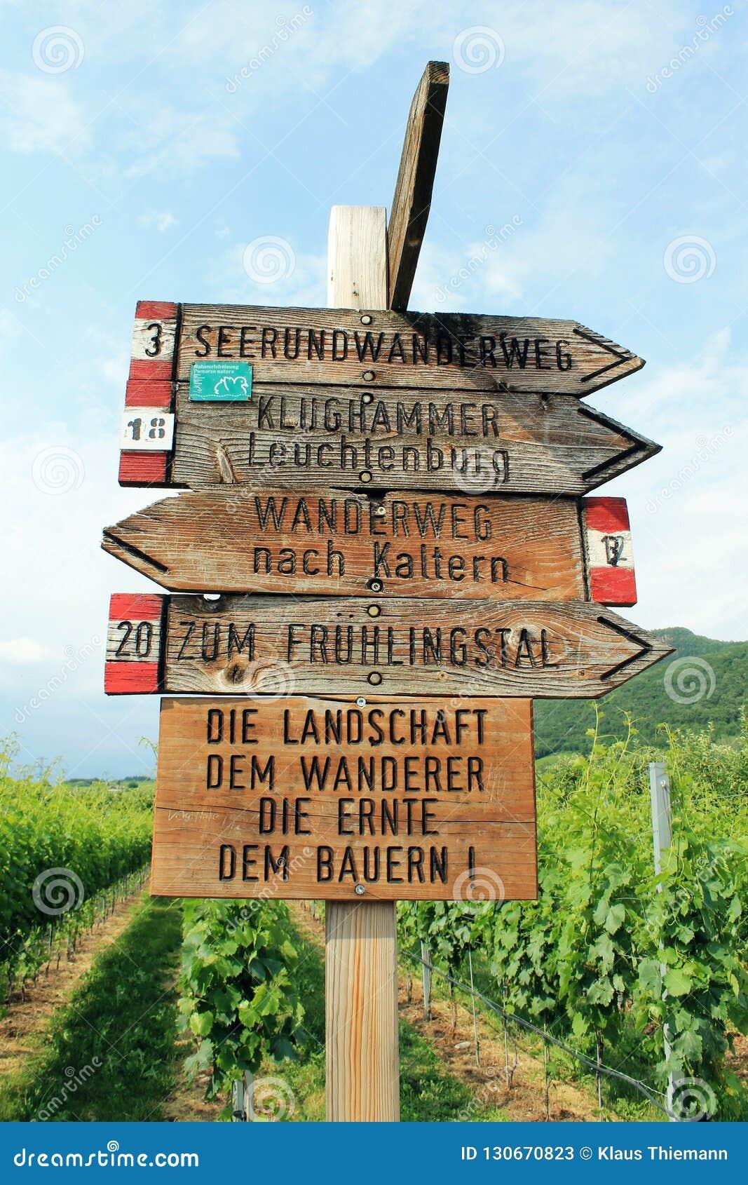 Guidepost в регионе расти плода южного Тироля