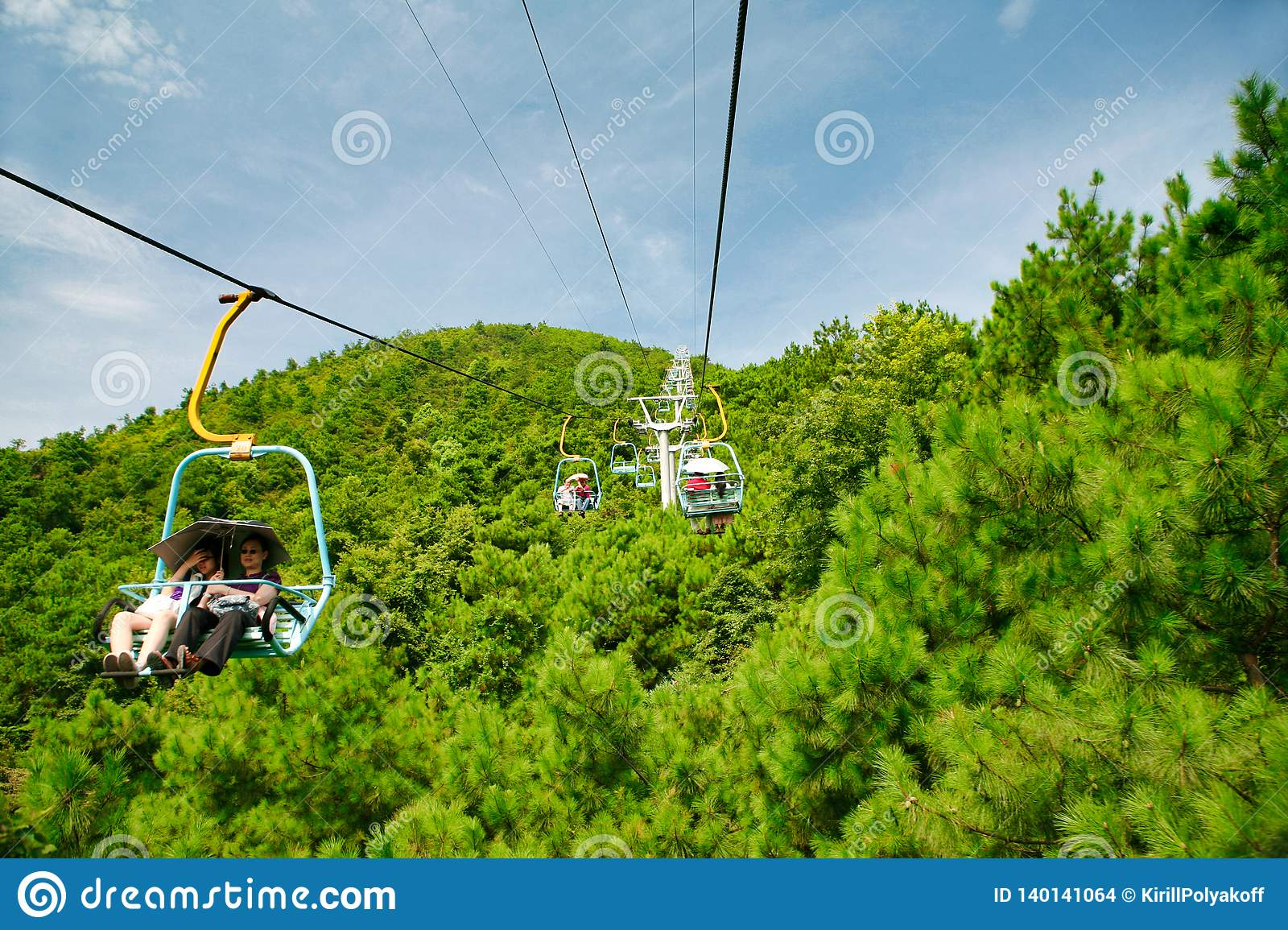 Guilin, China - July 16, 2018: Long cable car at Yaoshan Mountain.