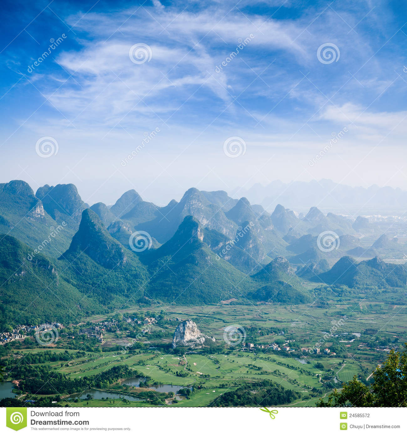 Guilin Hills Beautiful Karst Mountain Landscape Stock