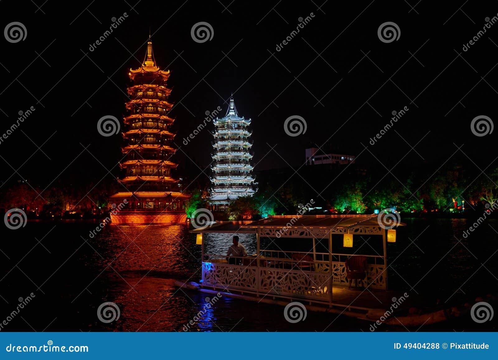 Download Guilin Yangshuo Guangxi China Stockfoto - Bild von pagode, leute: 49404288
