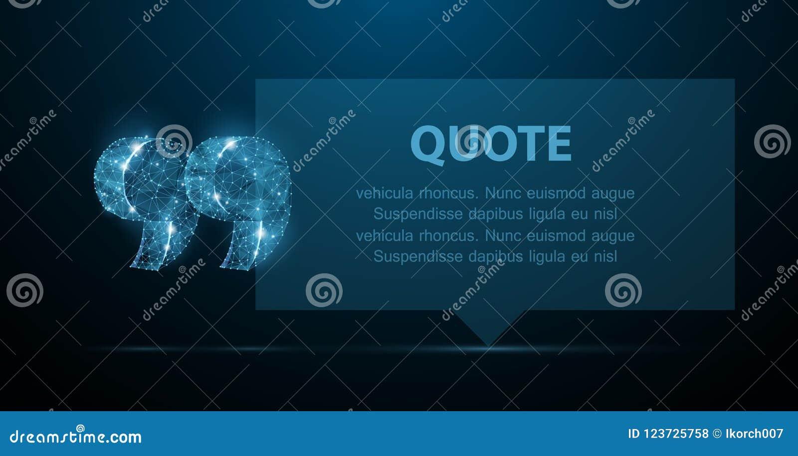 Guillemet Bulle vide moderne abstraite de la parole avec des marques de citation sur le fond bleu-foncé
