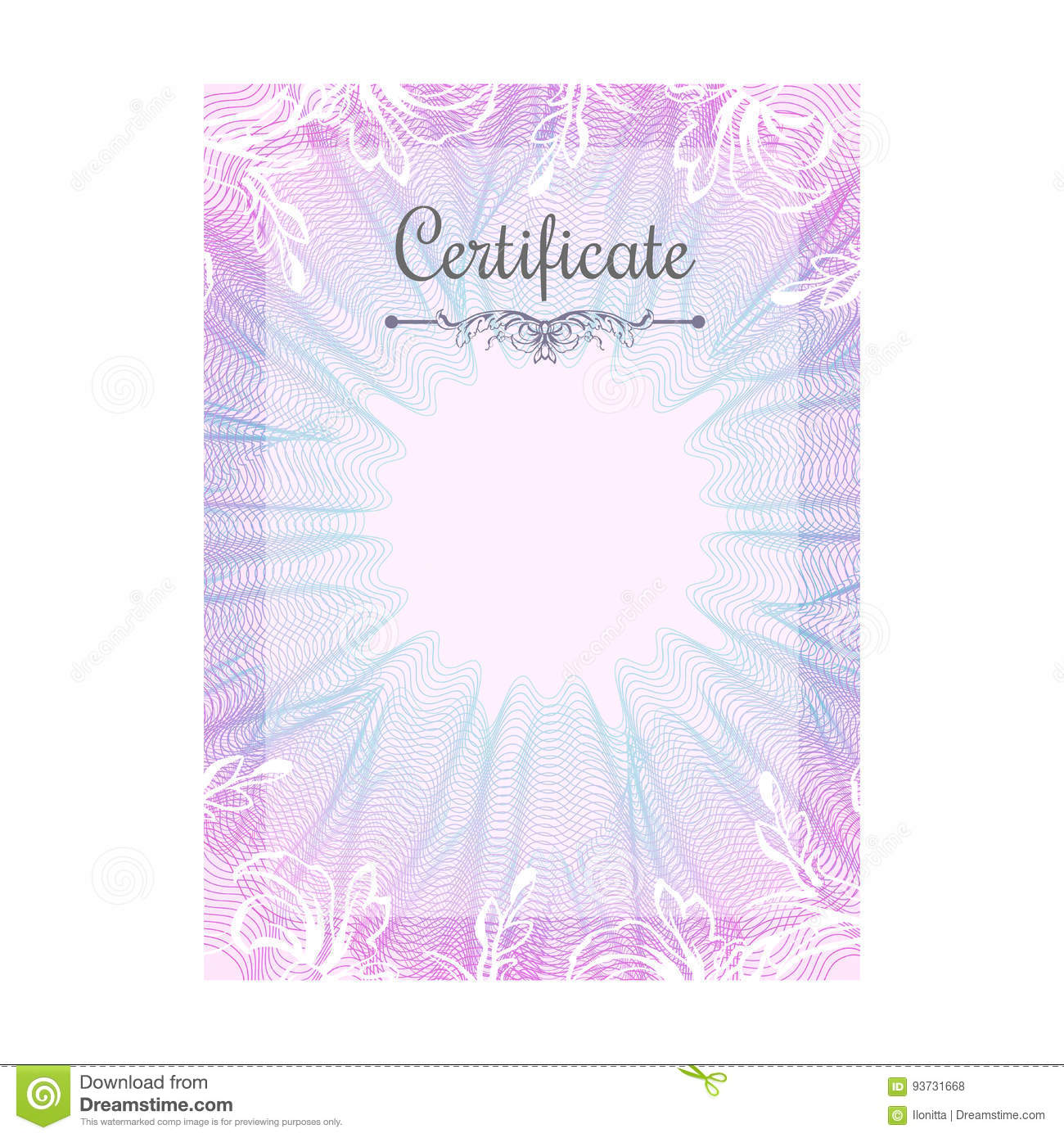 Guilloche Official Pink Certificate With Frame Stock Vector ...
