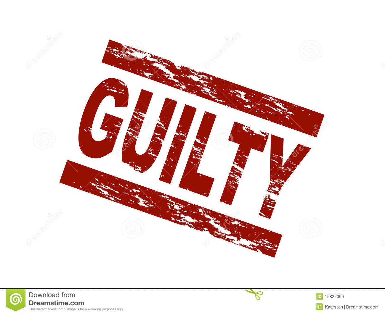 Stylized red stamp shows the term guilty. All on white background.