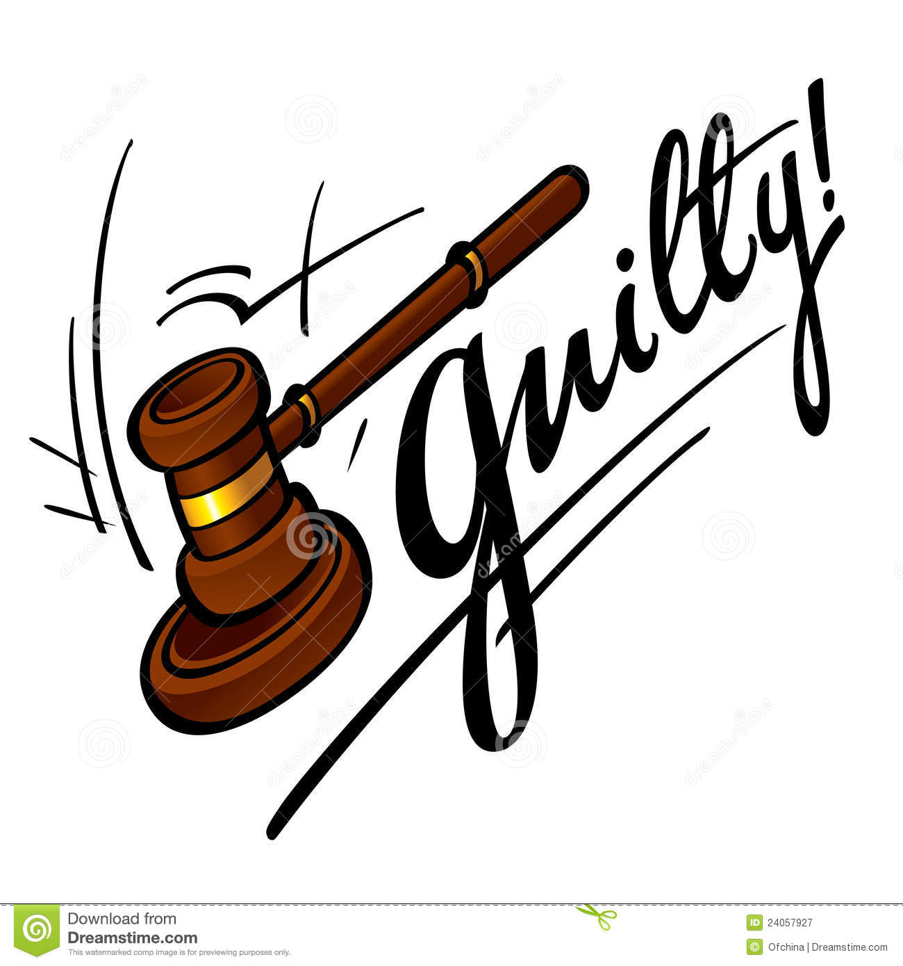 Guilty court judge wooden hammer crime sentence punishment.