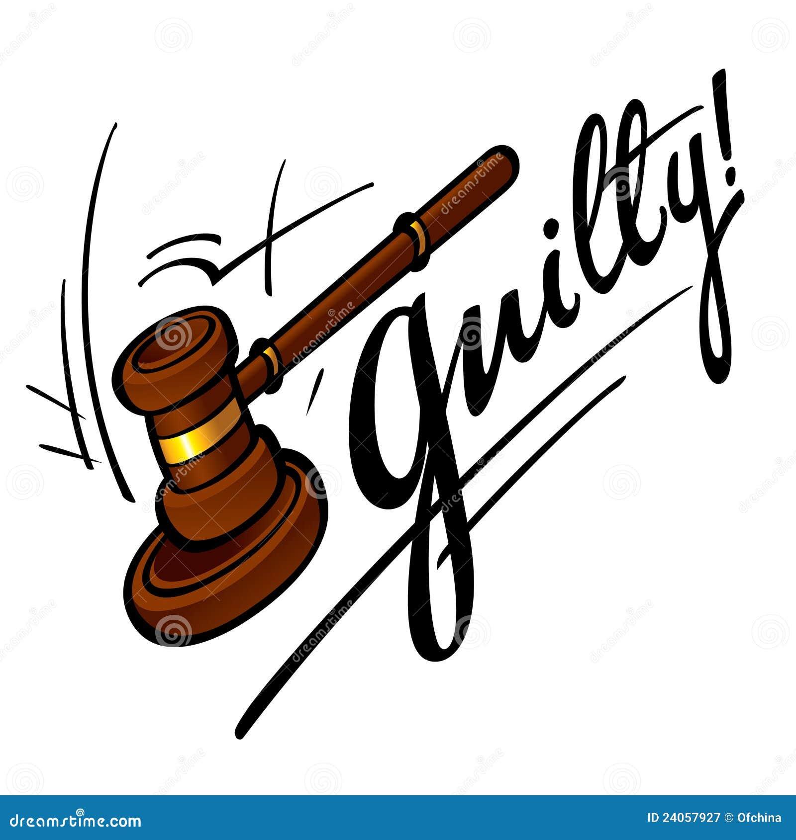 Guilty court judge wooden hammer crime sentence punishment.