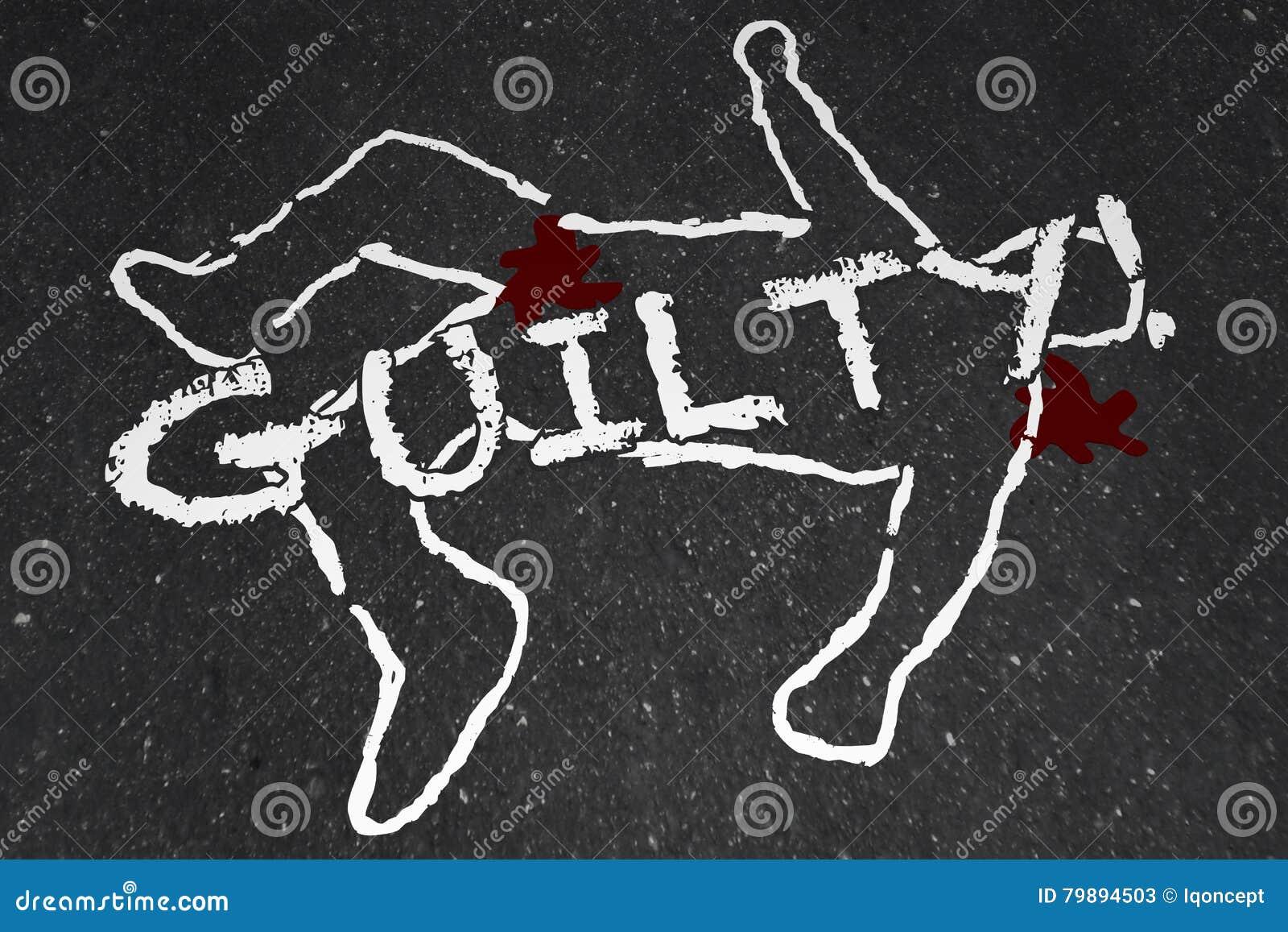 Guilty Crime Suspect Dead Body Murder Chalk Outline