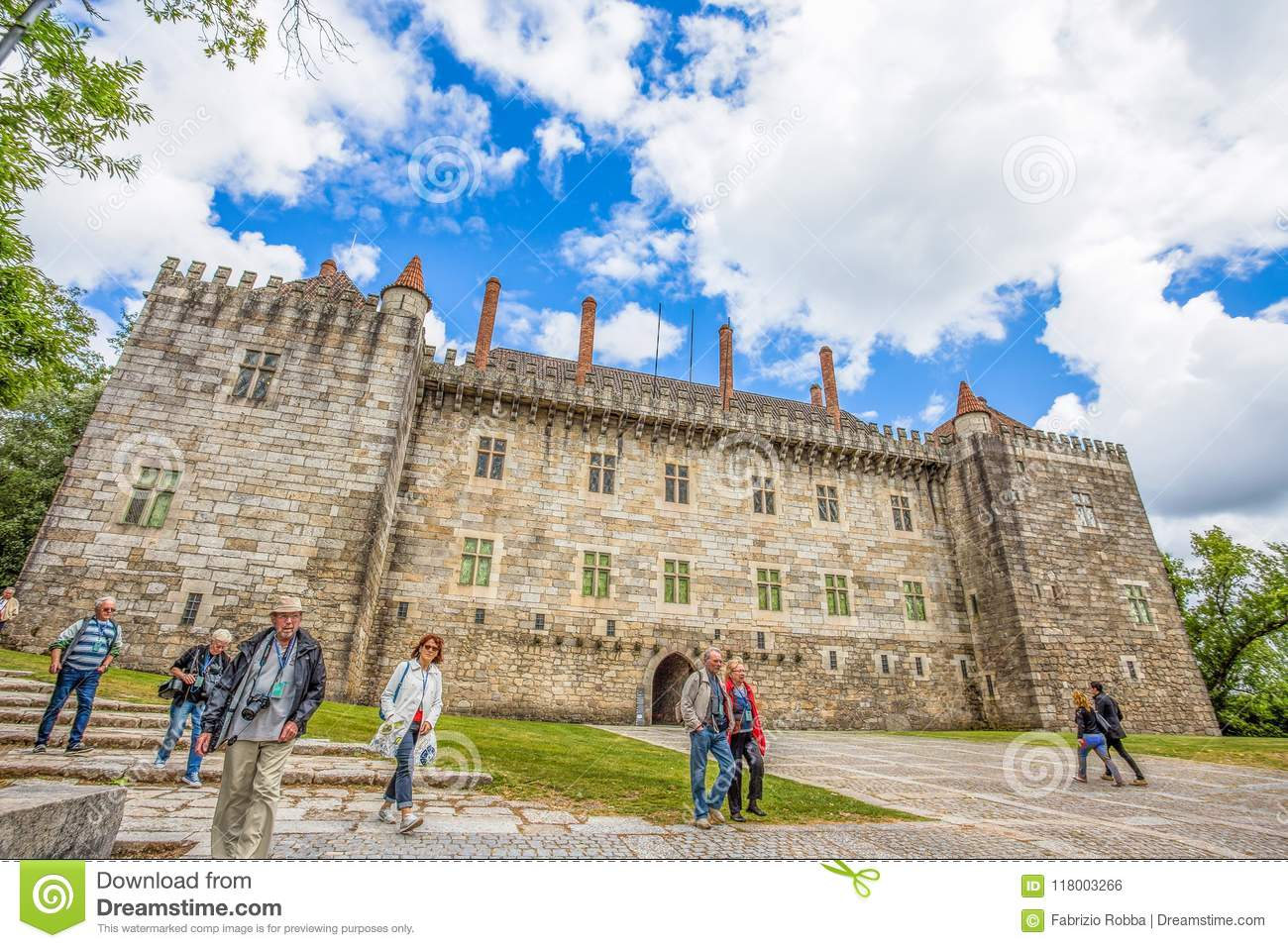 Guimaraes Castle in Guimaraes, Braga District, Portugal. It is one of the oldest Portuguese castles. Alfonso I Henriques, the firs