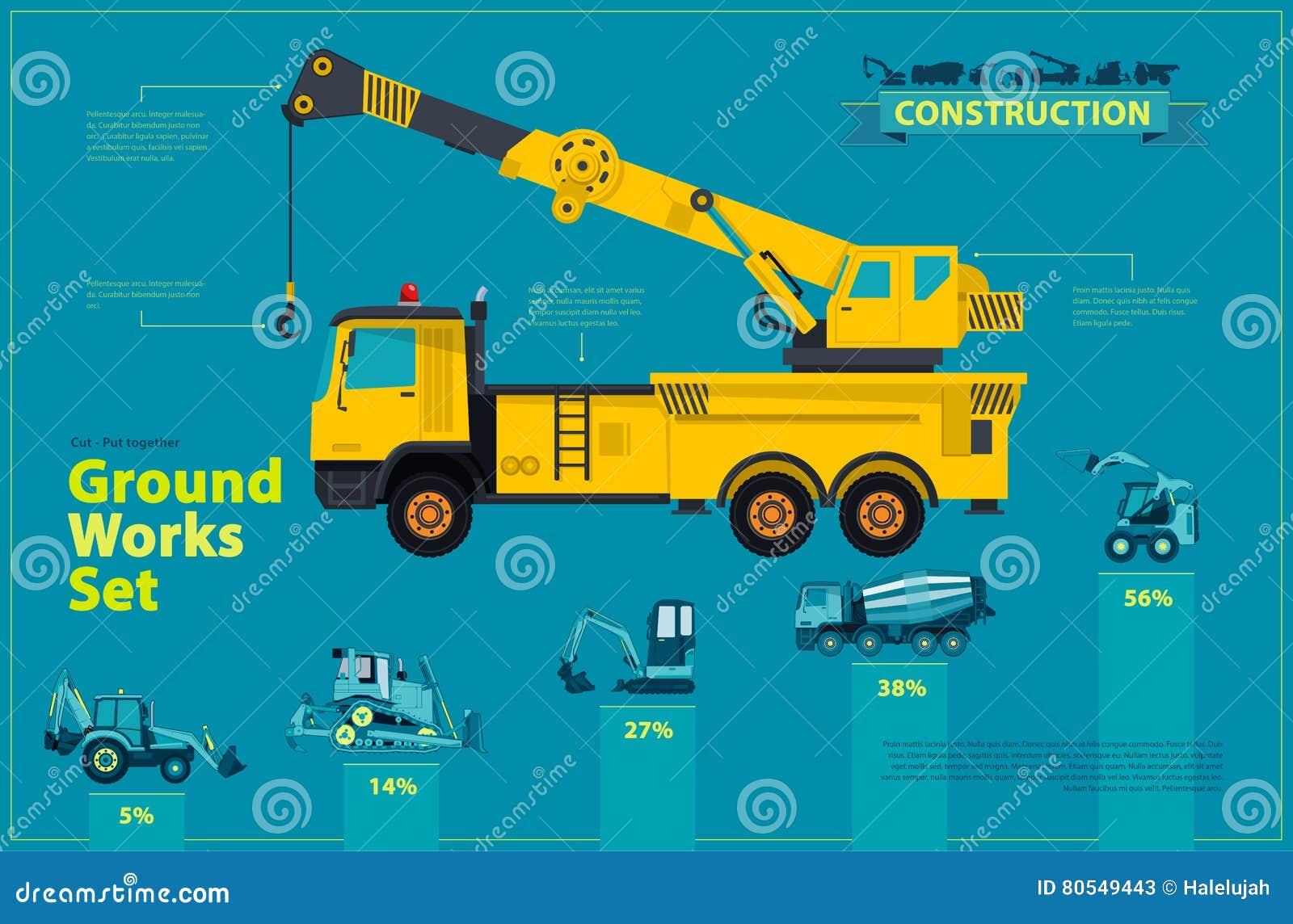 Guindaste amarelo O grupo infographic azul, terra trabalha veículos das máquinas do azul