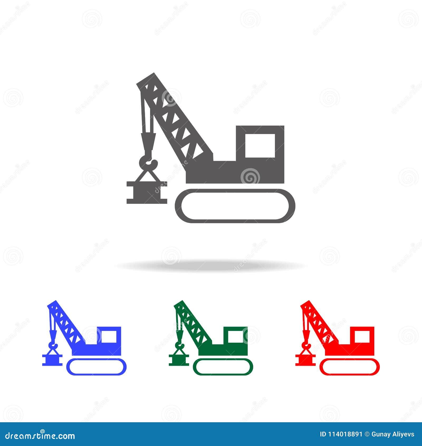 Guindaste de levantamento Ícone dos elevadores da torre e do porto Os elementos da construção utilizam ferramentas multi ícones c