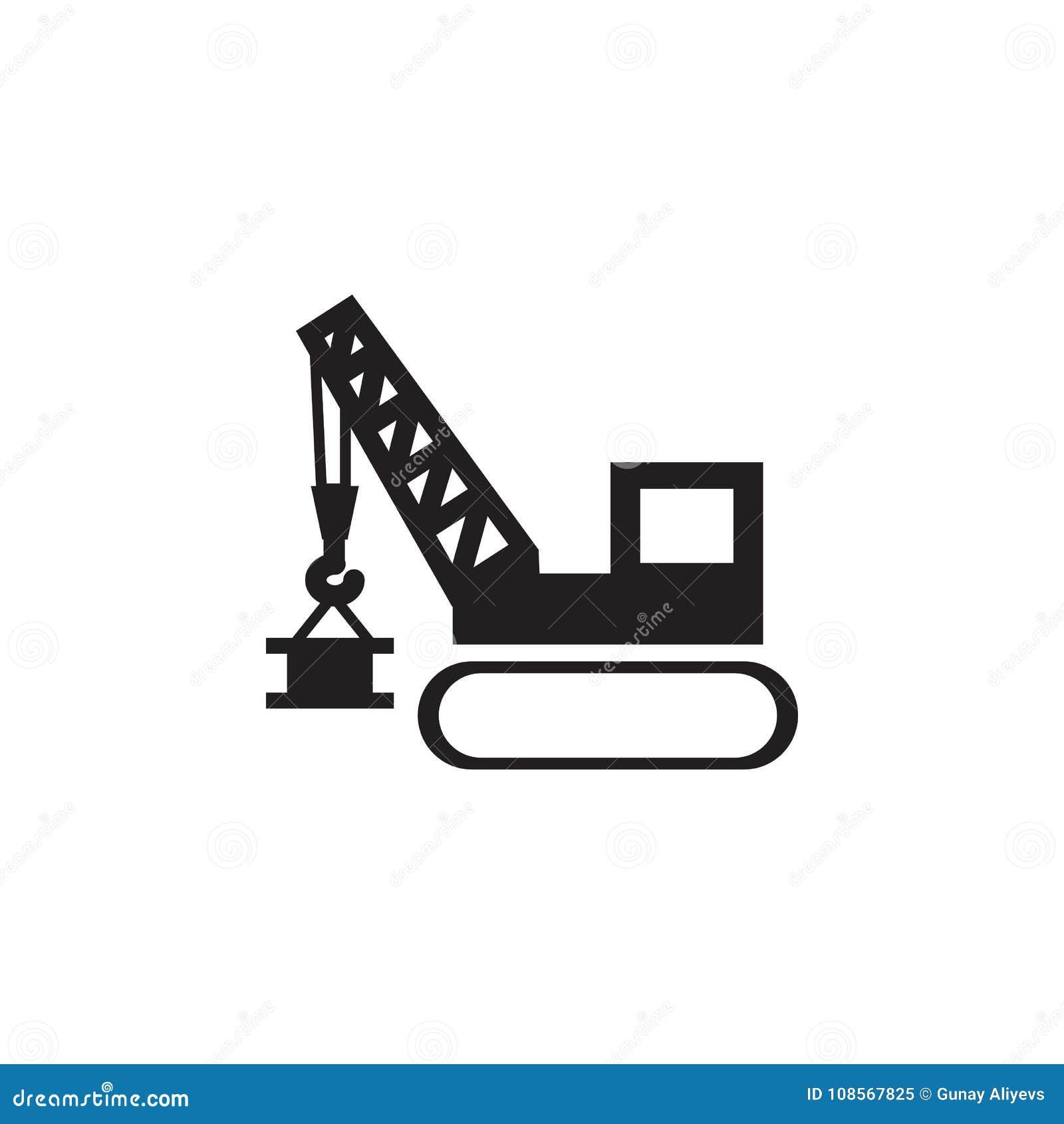 Guindaste de levantamento Ícone dos elevadores da torre e do porto Os elementos da construção utilizam ferramentas o ícone Projet