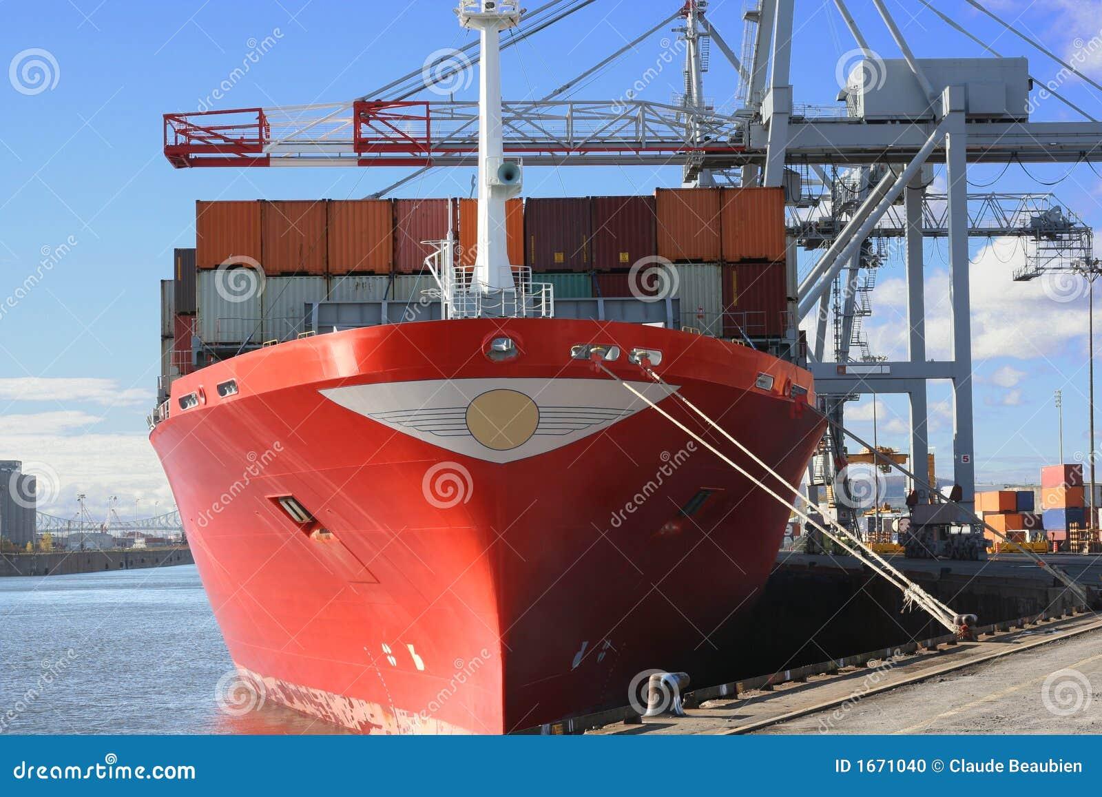Guindastes e navio do recipiente