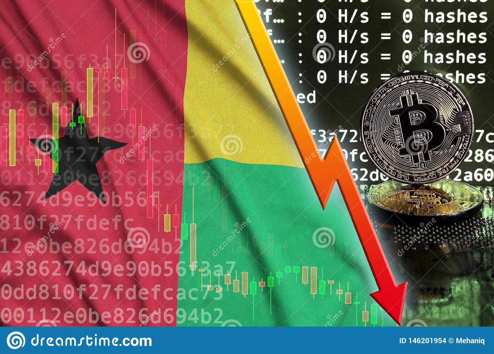 Guinea Bissau Flag And Falling Red Arrow On Bitcoin Mining