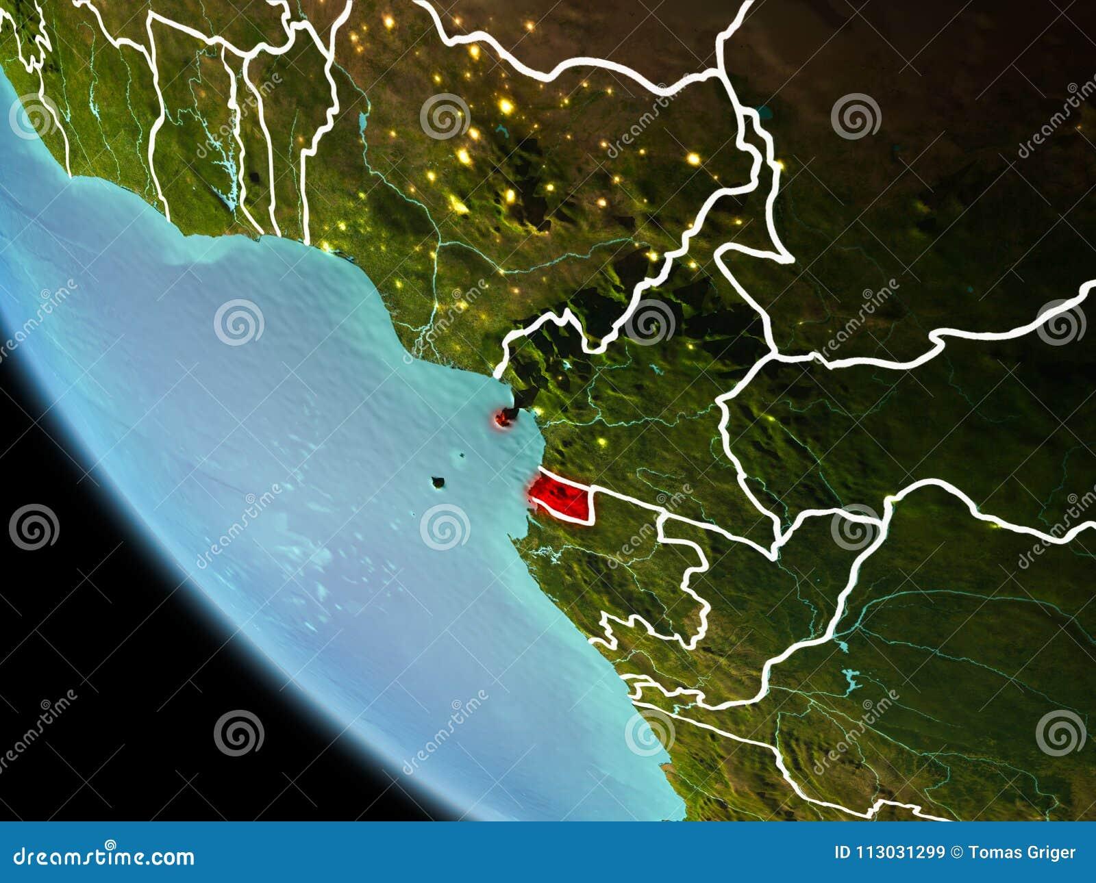 Guinea Ecuatorial en la noche en la tierra