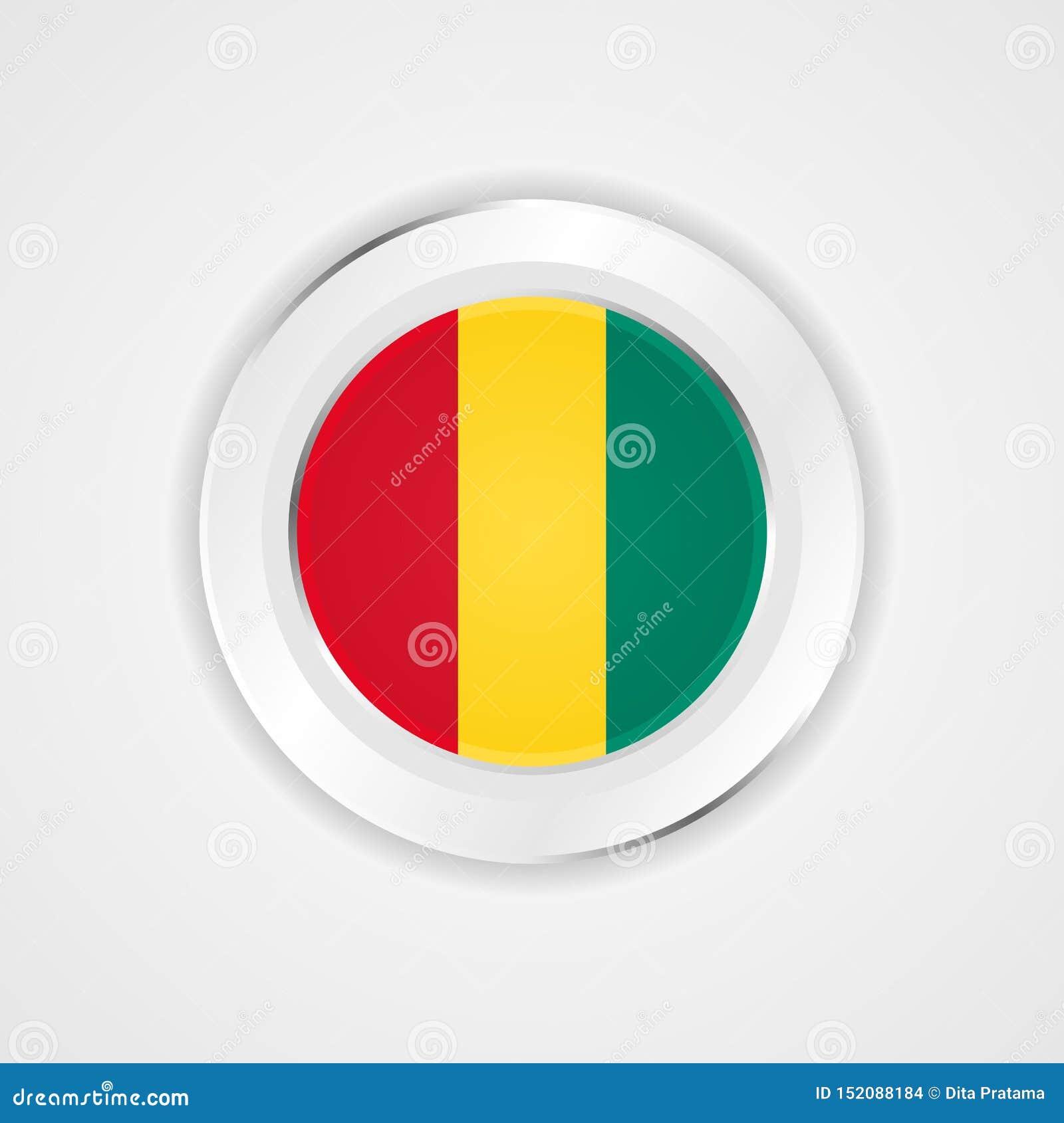 Guinea flagga i glansig symbol