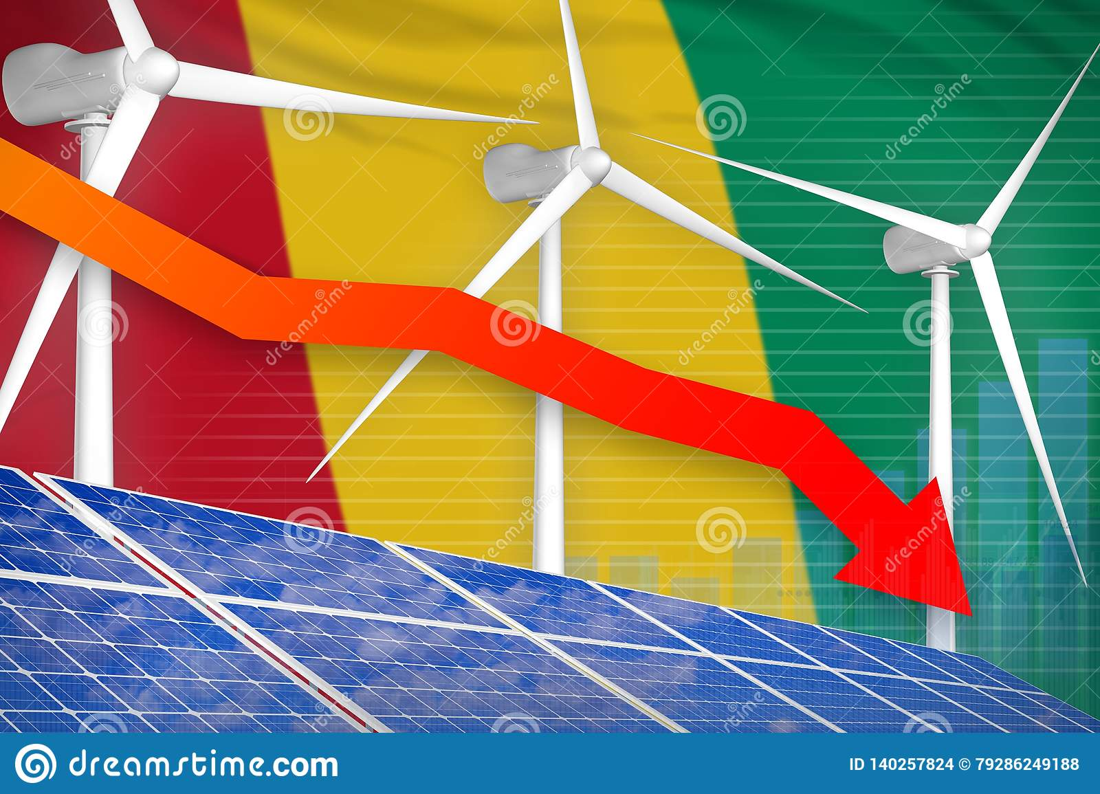 Guinea Solar And Wind Energy Lowering Chart, Arrow Down