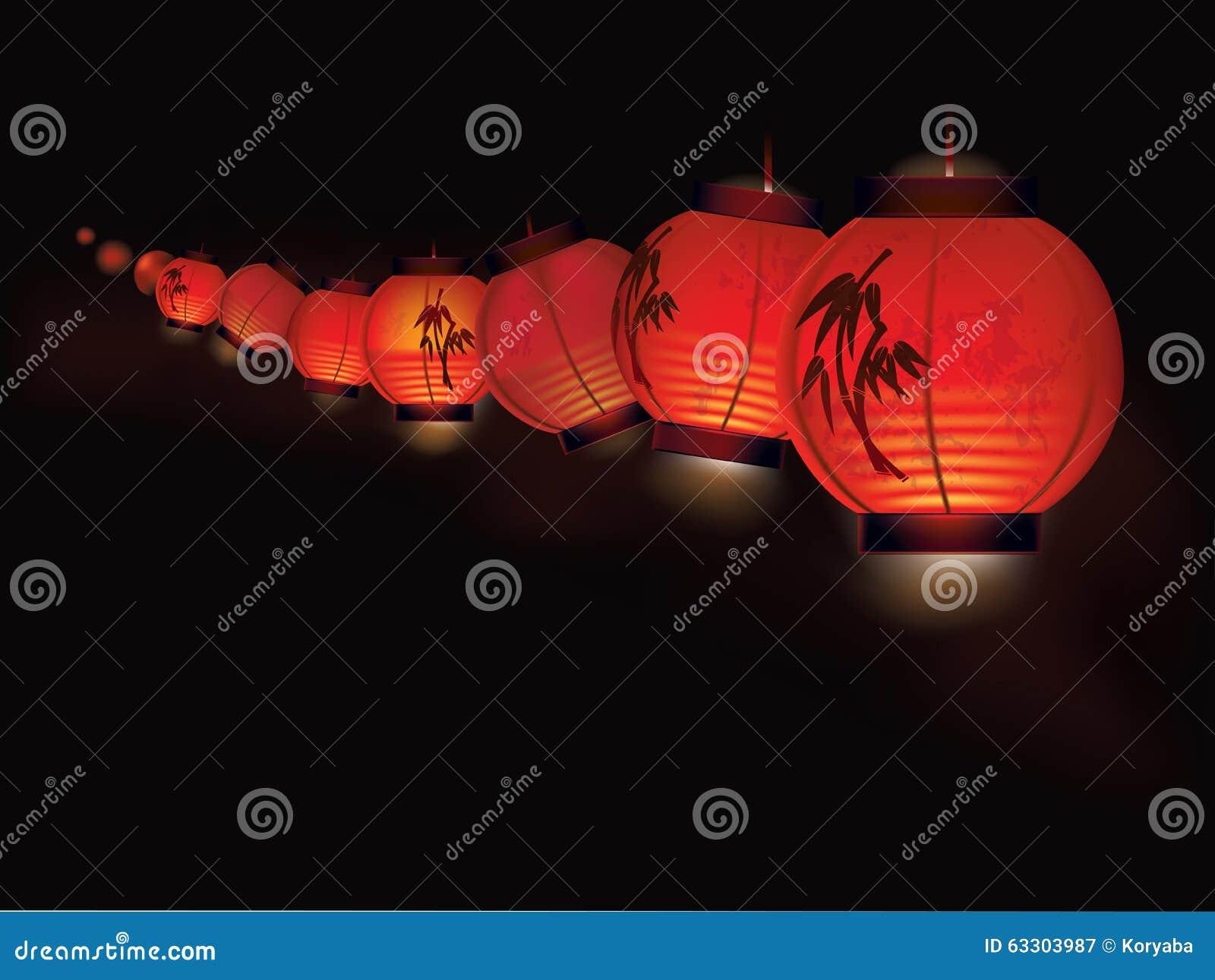 guirlande chinoise de lampion illustration de vecteur image 63303987. Black Bedroom Furniture Sets. Home Design Ideas