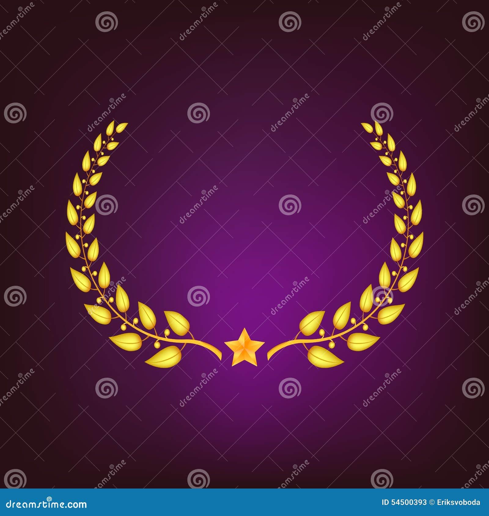 Guirlande d or de laurier avec l étoile