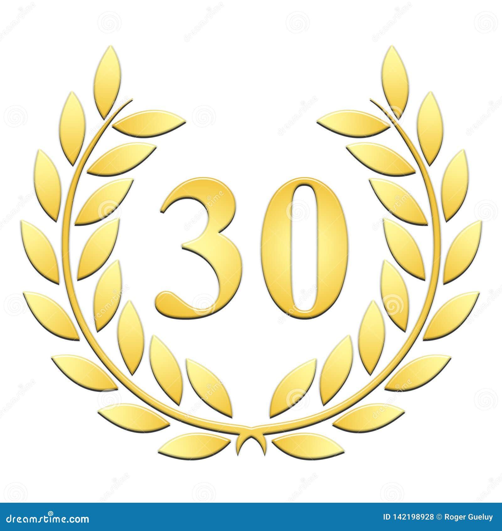 Guirlande d or de laurier de guirlande de laurier pour le 30ème anniversaire sur un backgroundanniversary blanc sur un fond blanc