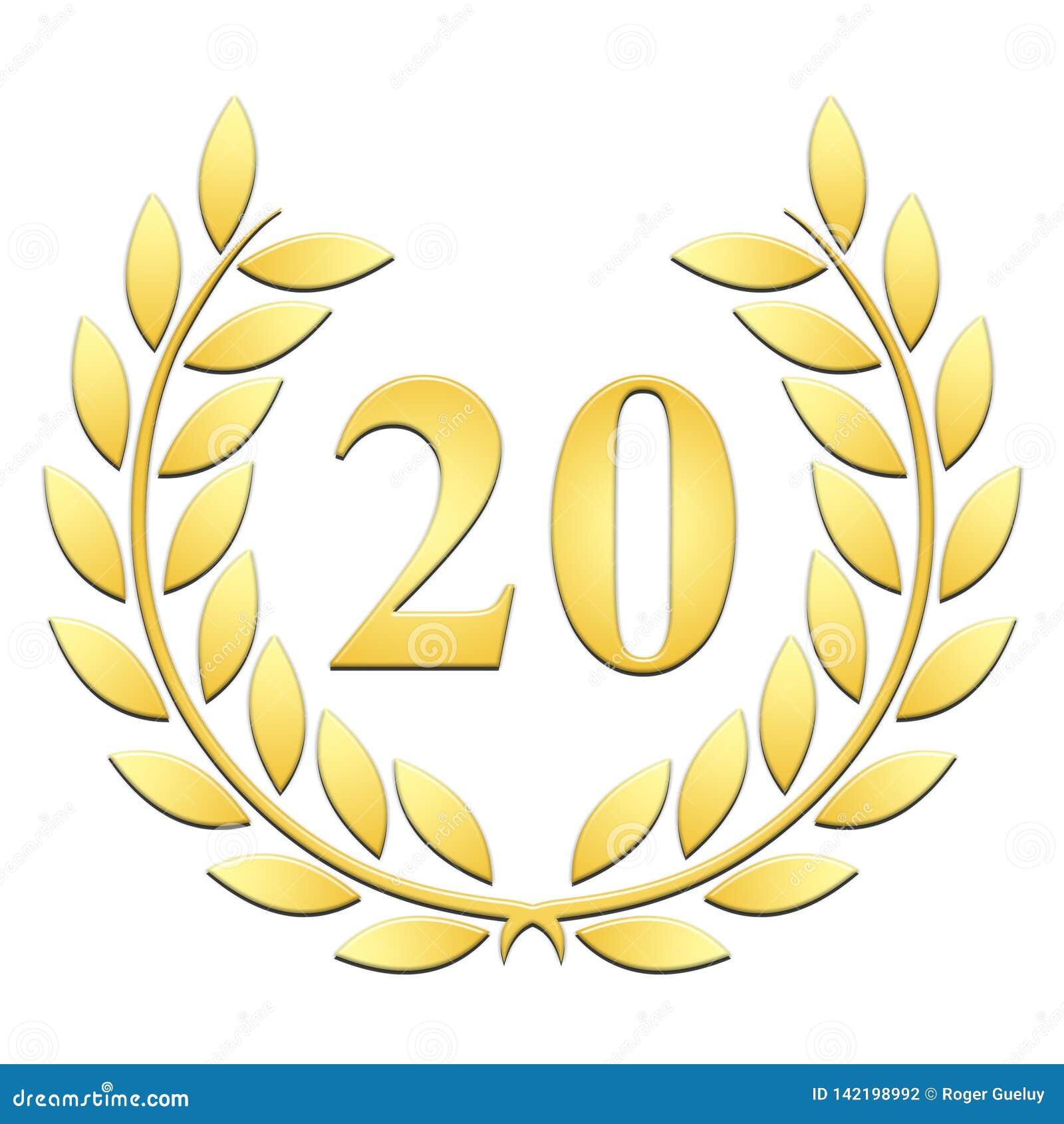 Guirlande d or de laurier de guirlande de laurier pour le 20ème anniversaire sur un backgroundanniversary blanc sur un fond blanc
