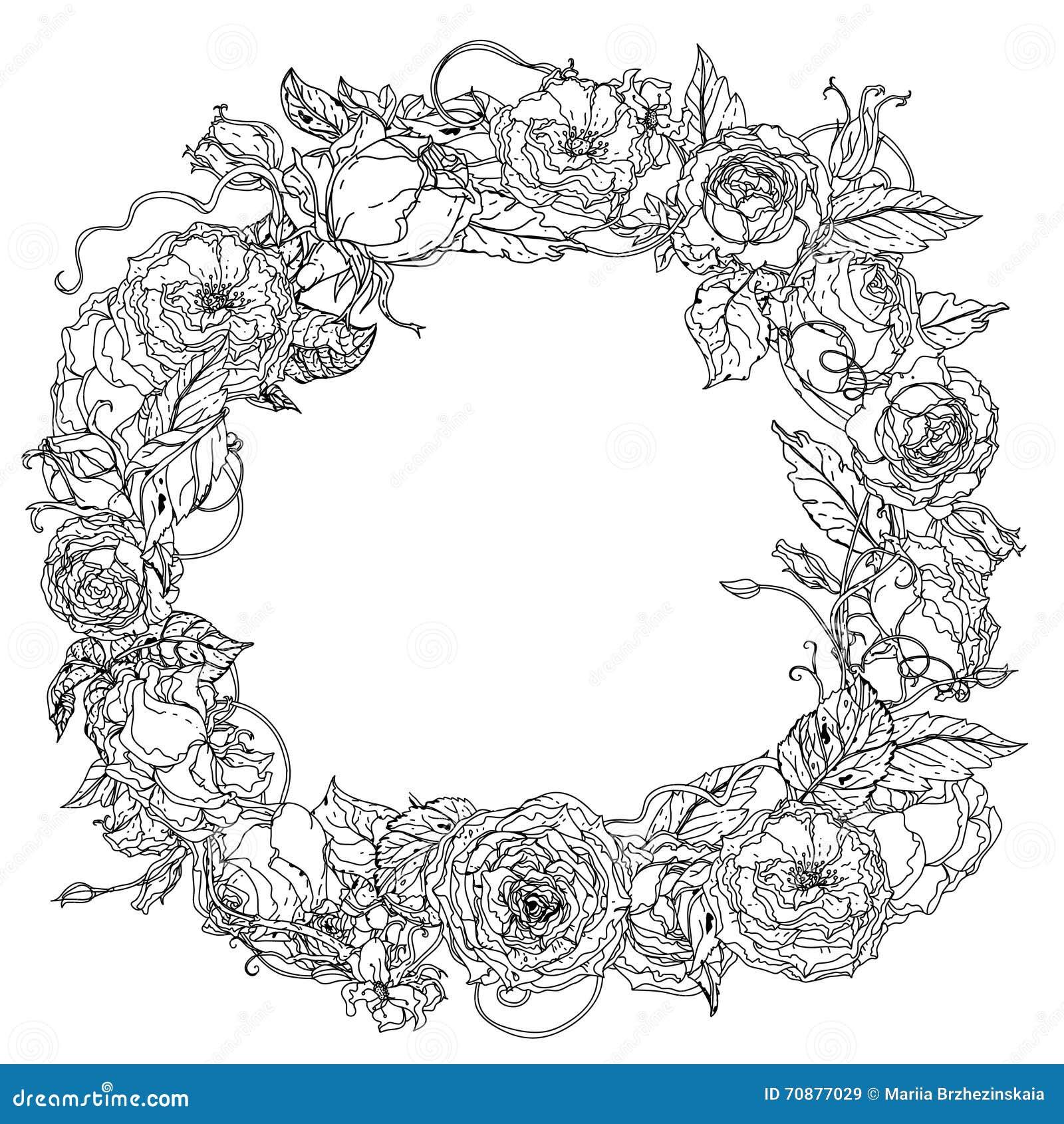 Coloriage Guirlande Fleurs.Guirlande De Dessin De Main Noire Et Blanche Mandala De