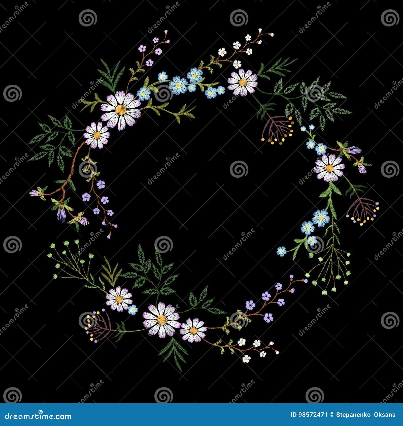 Guirlande de fleur brodée par vintage Copie élégante de décoration de conception sensible de mode