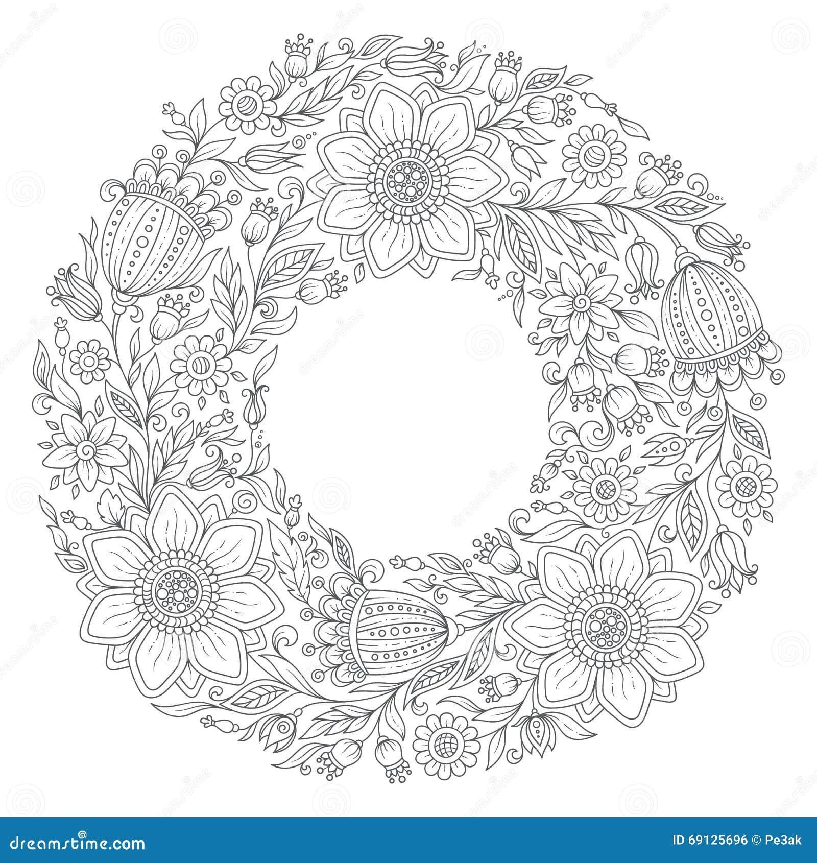 Coloriage Guirlande Fleurs.Guirlande De Fleurs Page De Livre De Coloriage Pour L Adulte