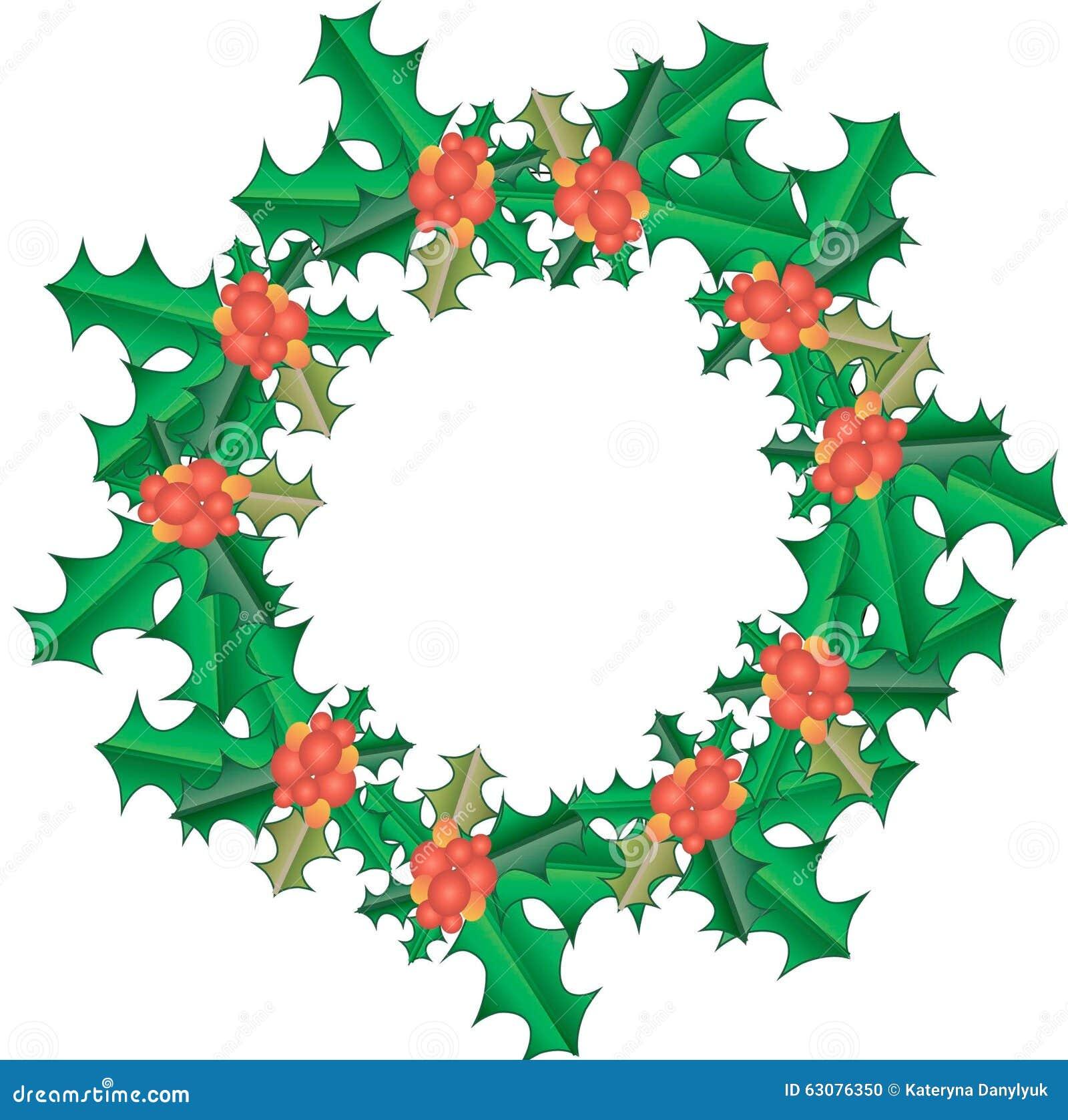 Download Guirlande De Houx De Noël Le Vert Part, Fruit Rouge, Gradient, Objet, Sur Le Blanc, Nouvelle Année Illustration de Vecteur - Illustration du rouge, conception: 63076350