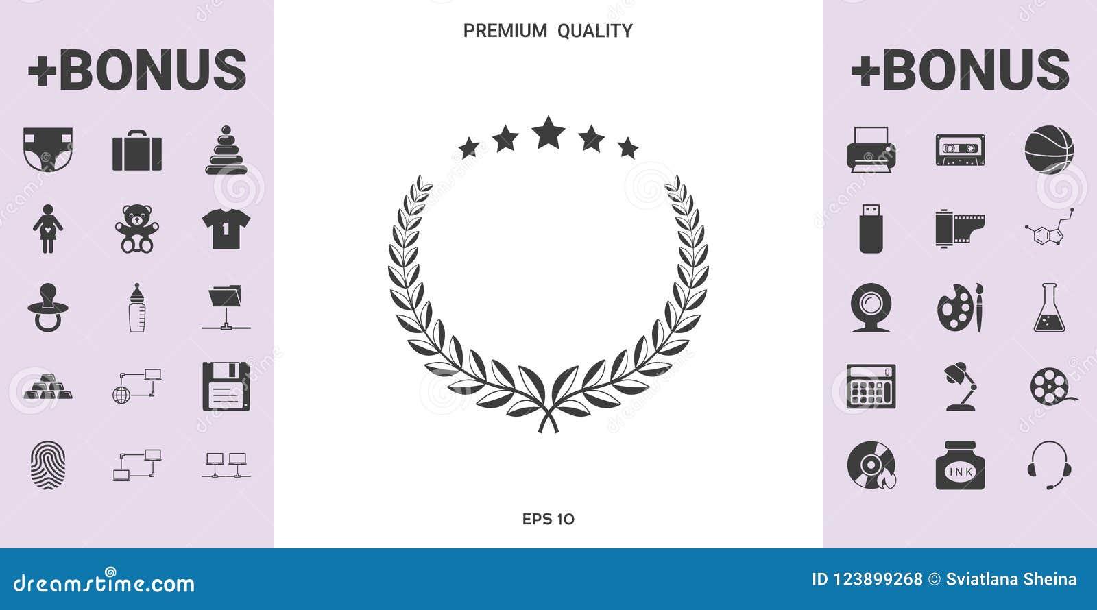 Guirlande de laurier avec cinq étoiles - concevez le symbole