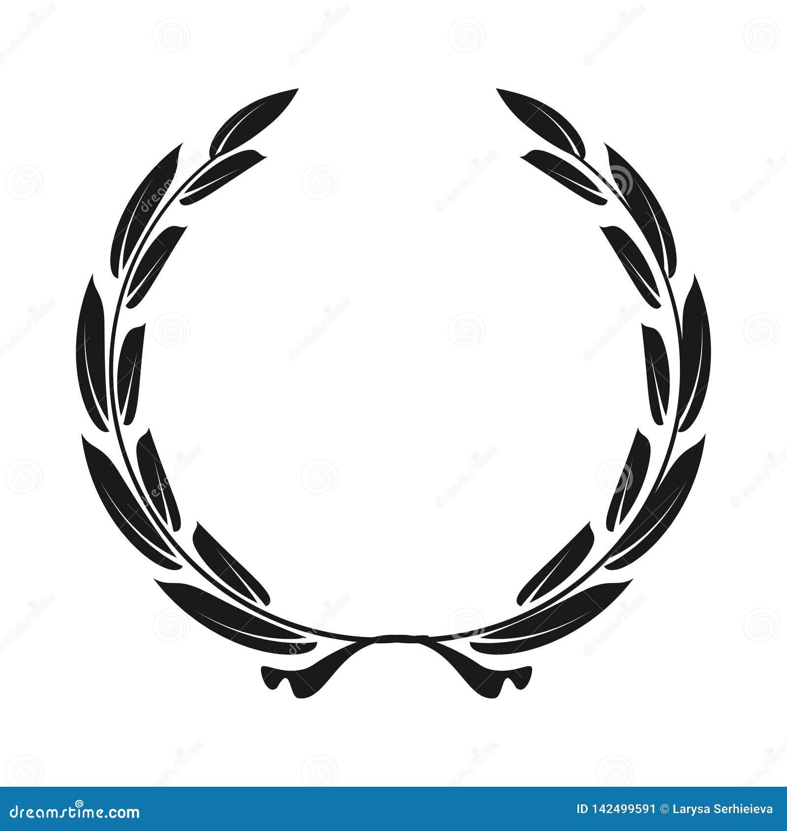Guirlande de laurier d icône - noir d illustration de vecteur