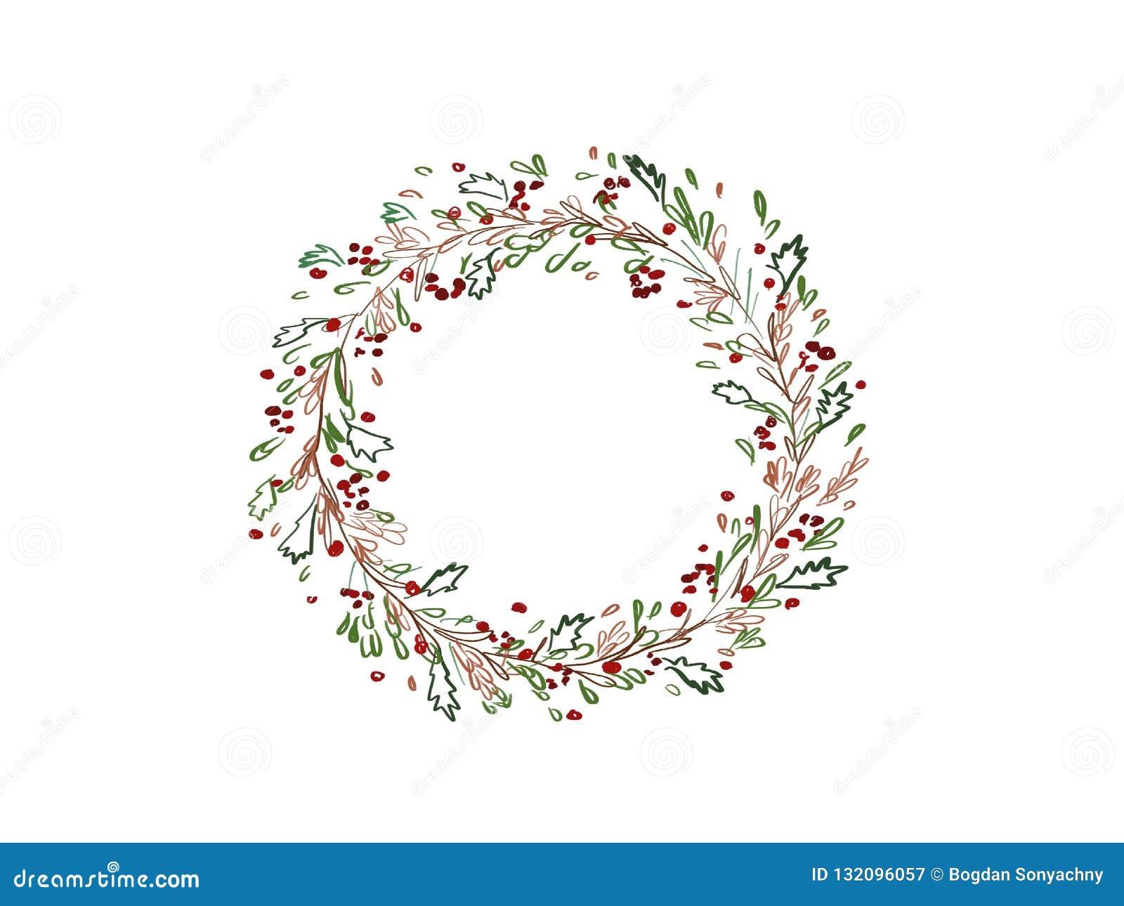 Guirlande de Noël Guirlande abstraite élégante de Noël avec f vert