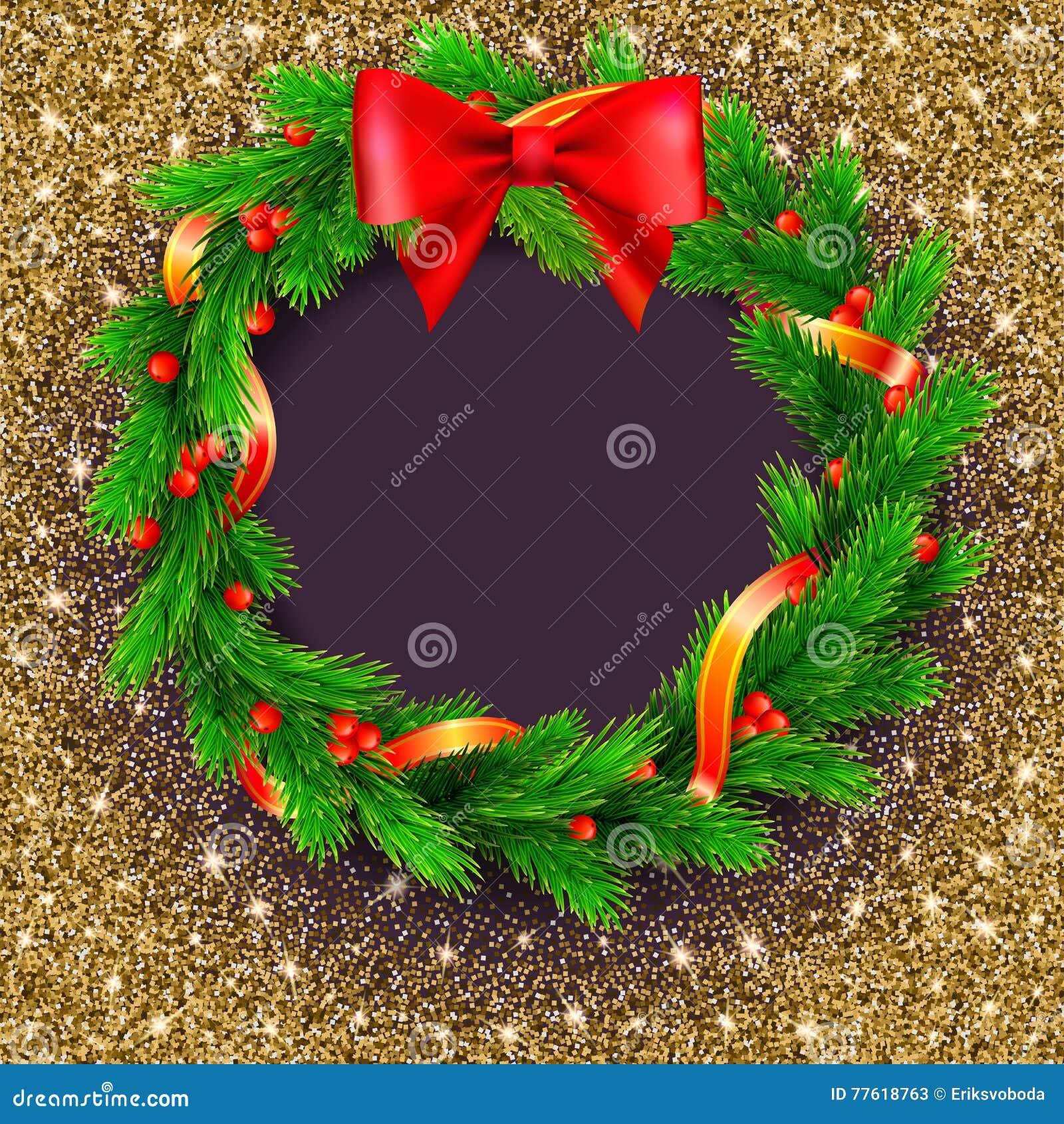 Guirlande De Noël Branches De Sapin Baies Rouges Et Arc Ruban D