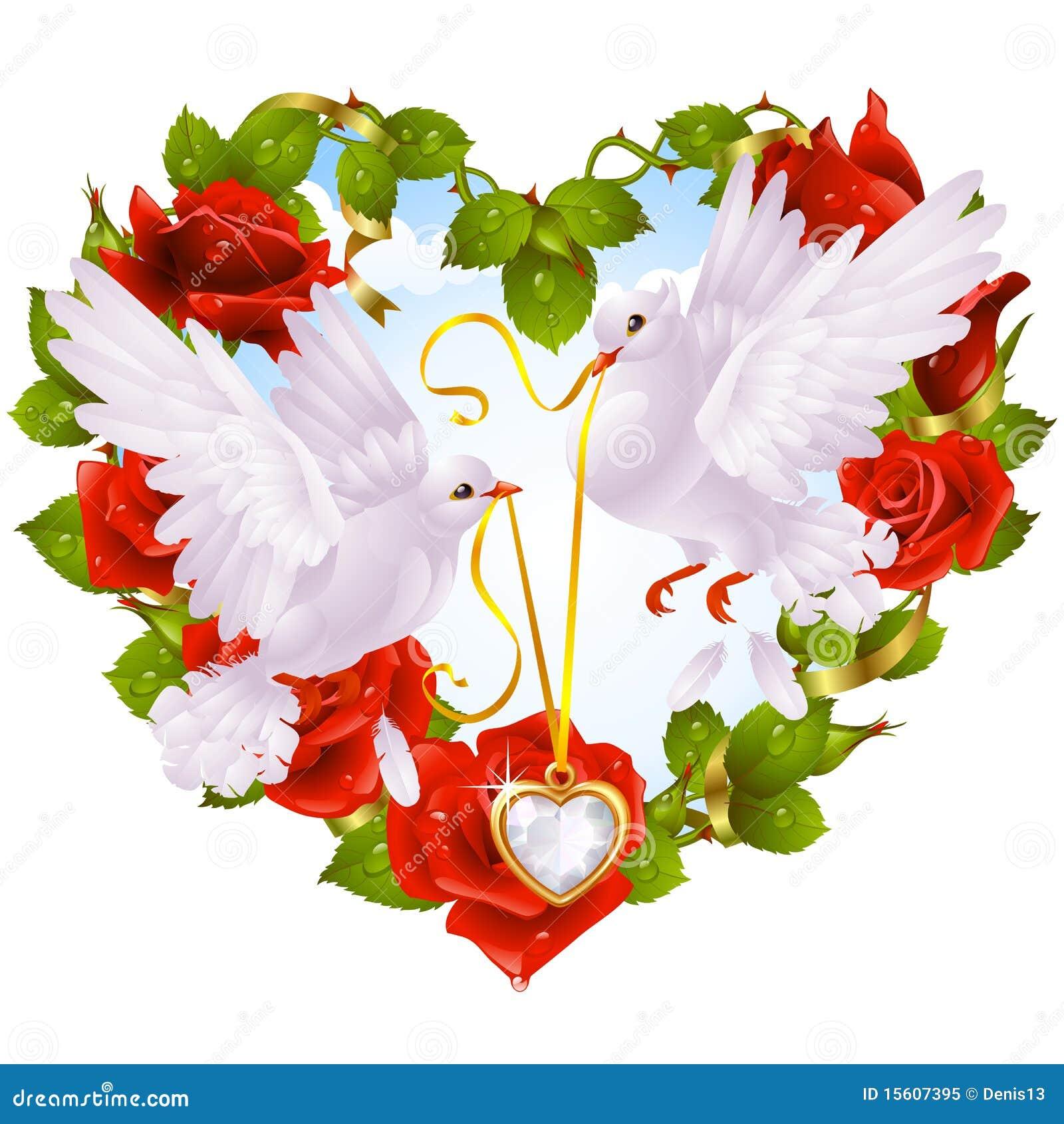 guirlande de rose sous forme de colombe de coeur et de couples photo libre de droits image. Black Bedroom Furniture Sets. Home Design Ideas