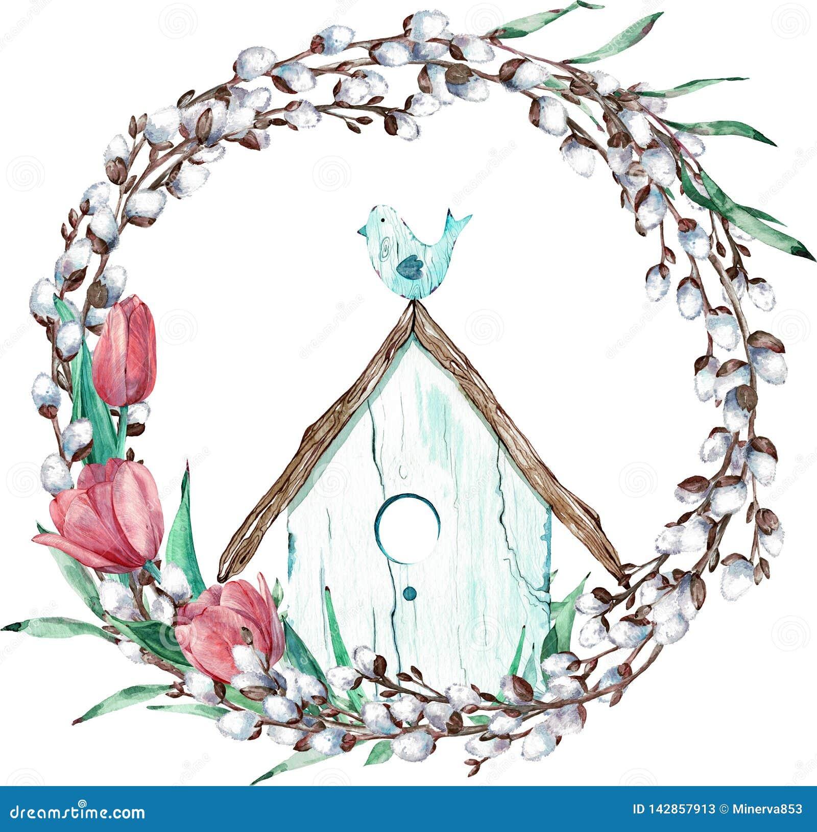 Guirlande de saule de Pâques avec les tulipes et l oiseau se reposant sur sa maison Illustration d aquarelle