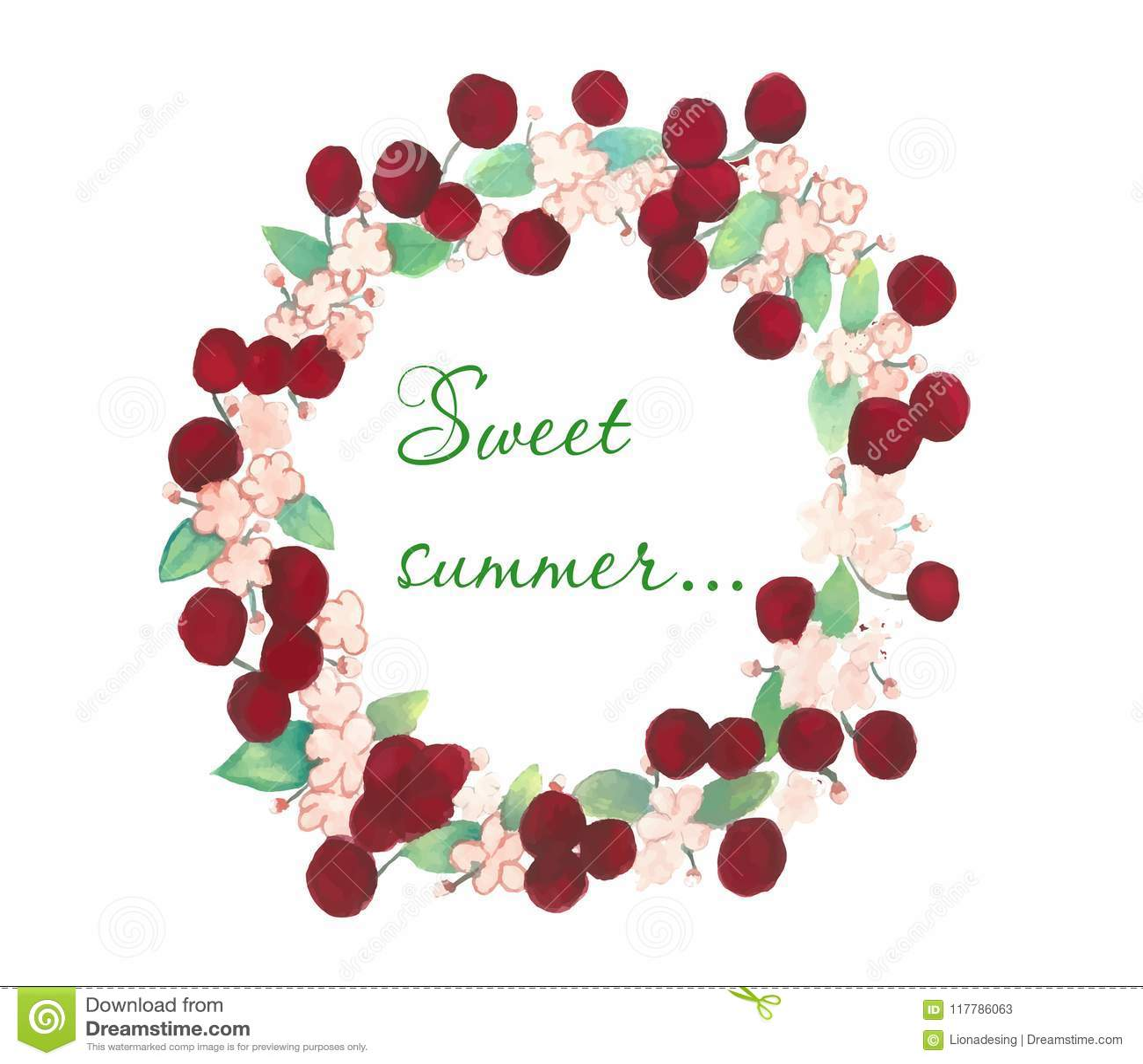 Guirlande des bardes mûrs des cerises avec des feuilles et des fleurs blanches avec un été de bonbon à inscription